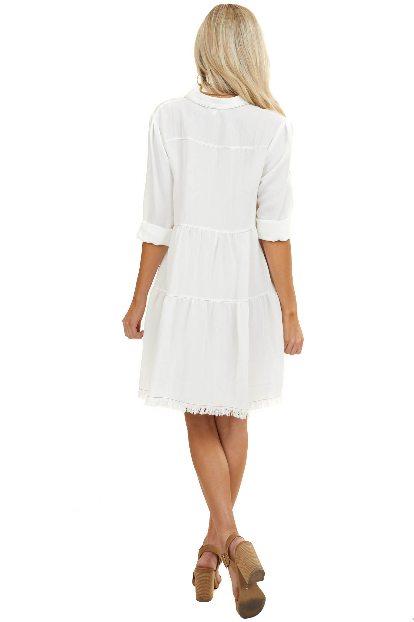 Ivory Button Down Dress with Frayed Hemline