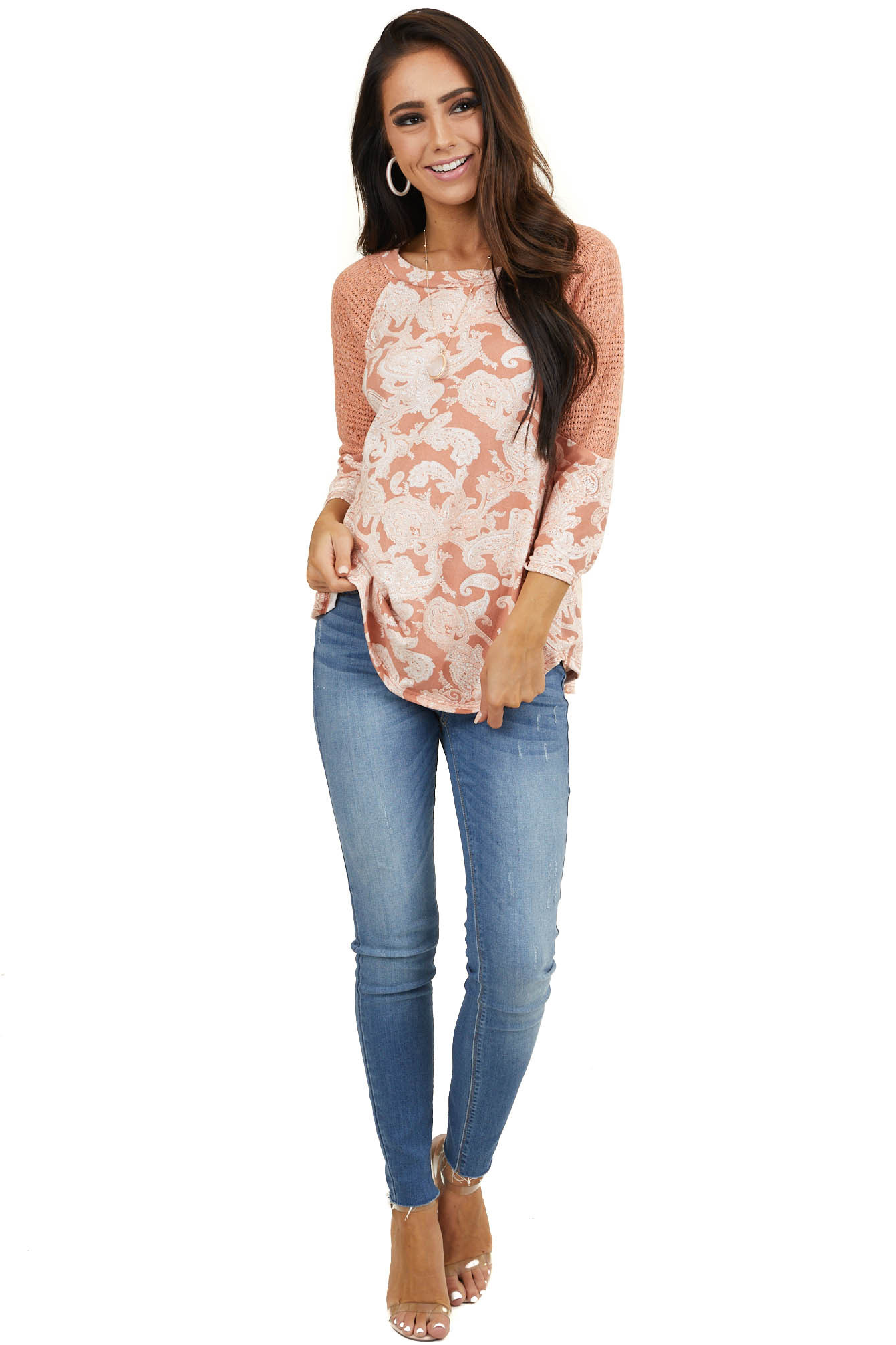 Dark Peach Super Soft Paisley Print Top with 3/4 Sleeves