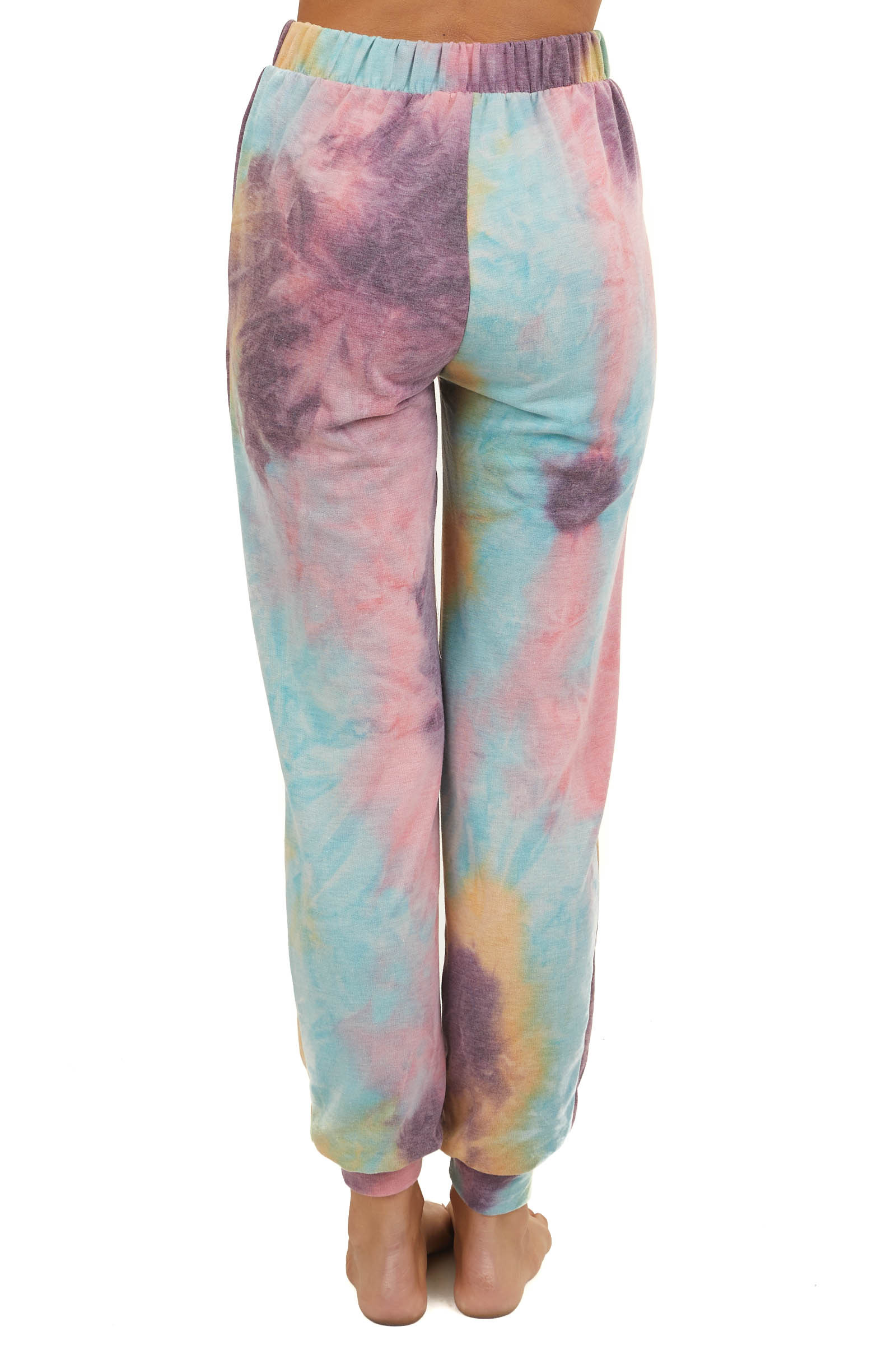 Dusty Multicolor Tie Dye Lightweight Joggers with Pockets
