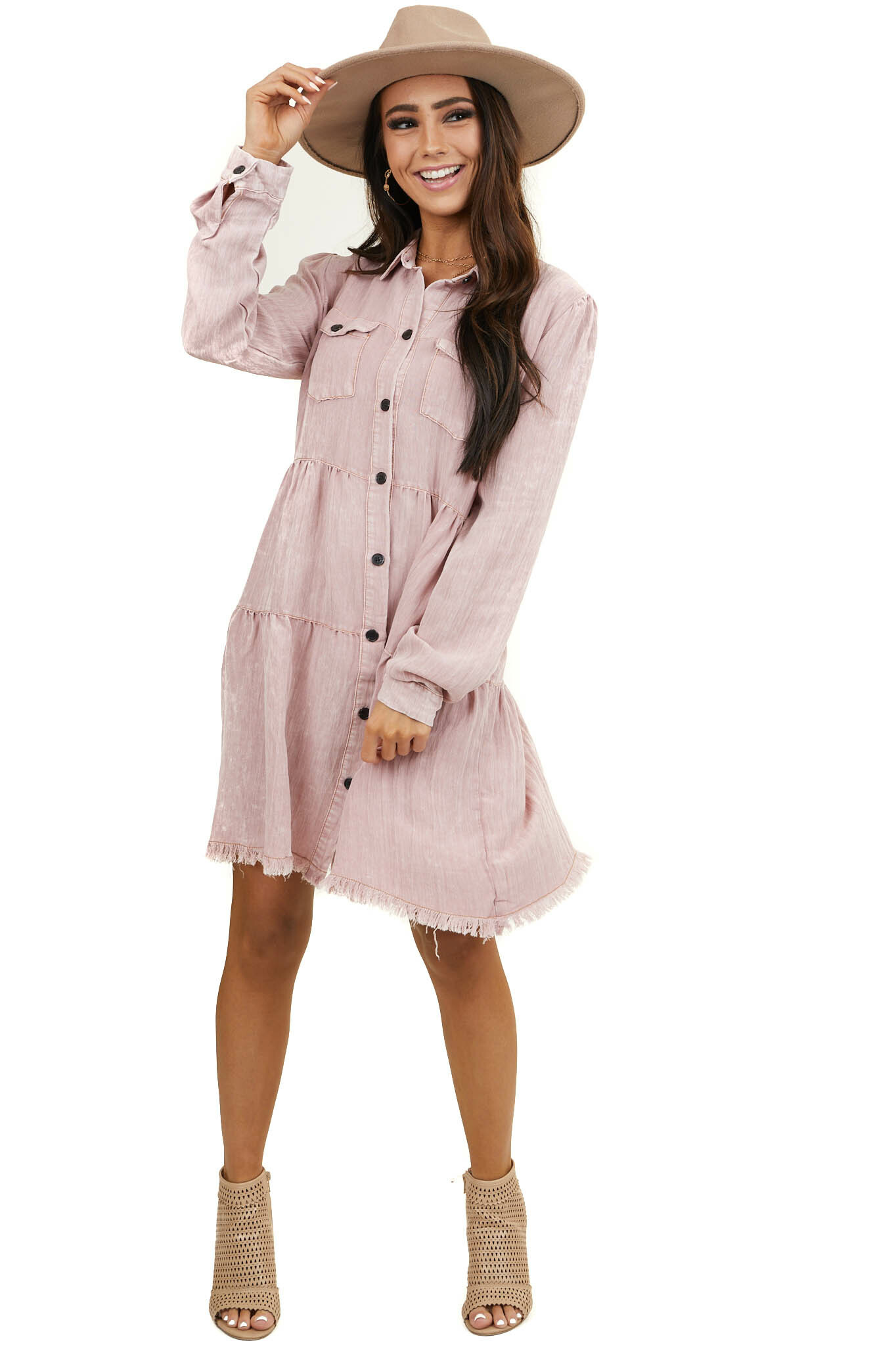 Dusty Rose Button Down Dress with Frayed Hemline