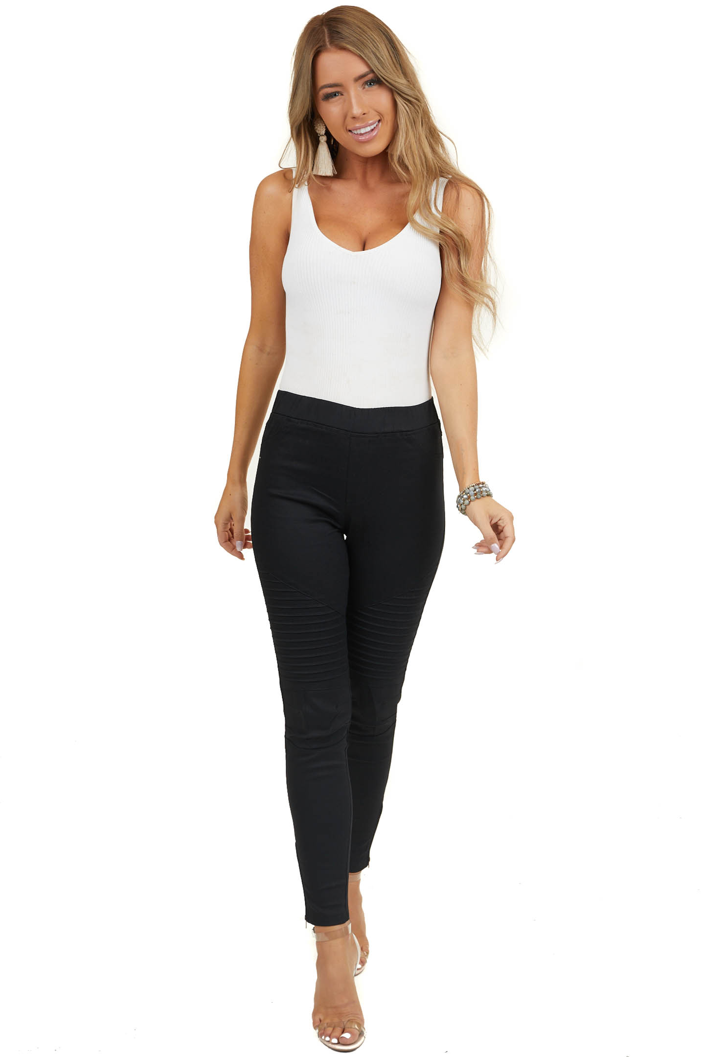 Black Jegging with Moto Stitch Details and Side Zipper