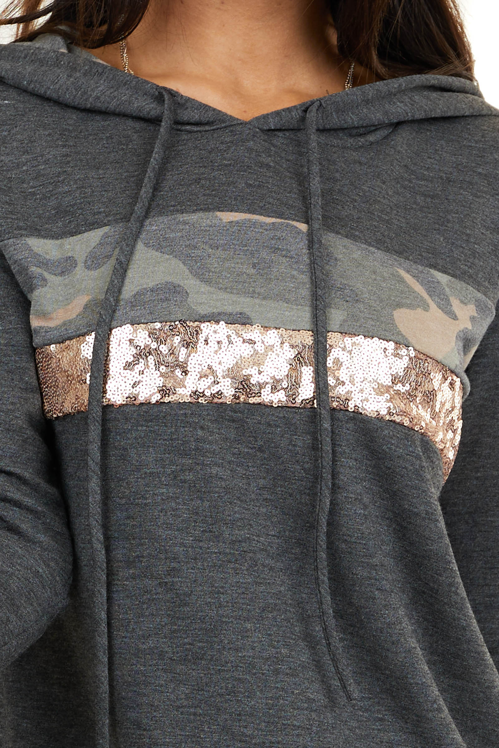 Charcoal Long Sleeve Hoodie with Camo and Sequin Contrast