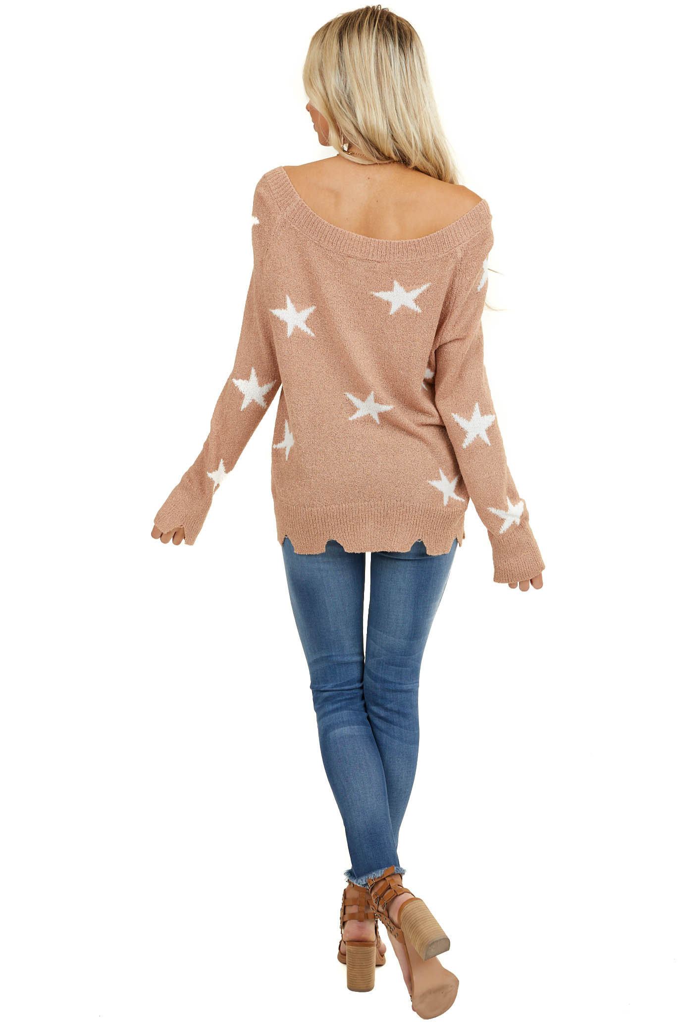 Apricot Star Print Long Sleeve Off the Shoulder Sweater