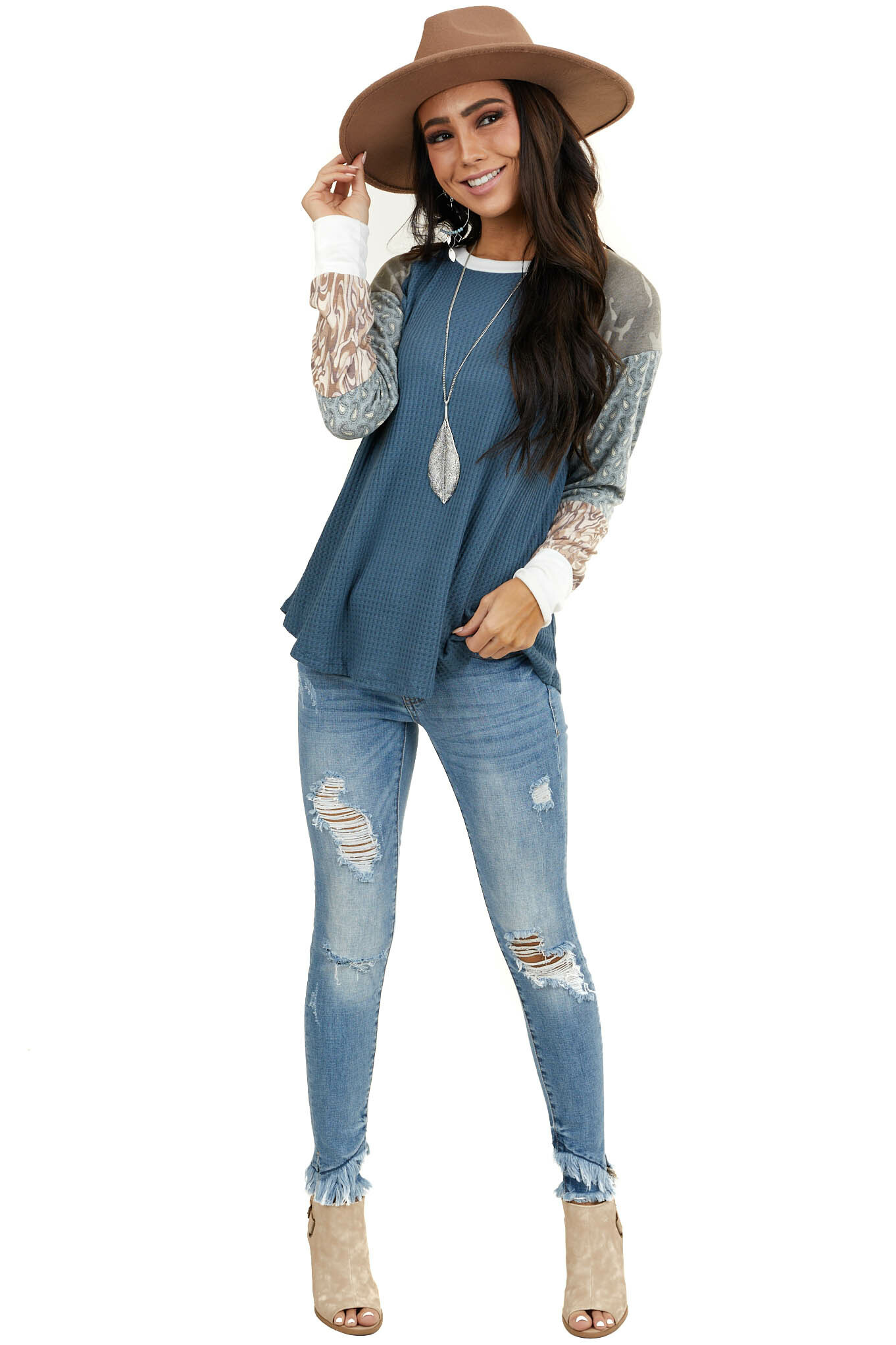 Deep Blue Waffle Knit Top with Multiprint Long Sleeves