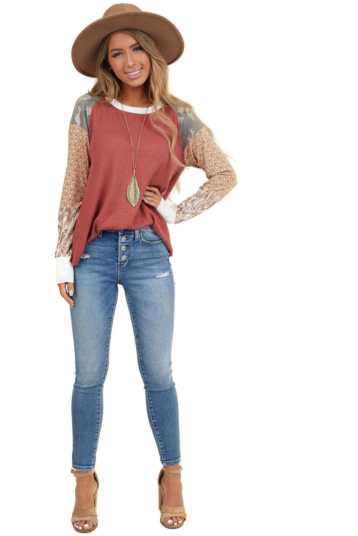 Faded Red Waffle Knit Top with Multiprint Long Sleeves