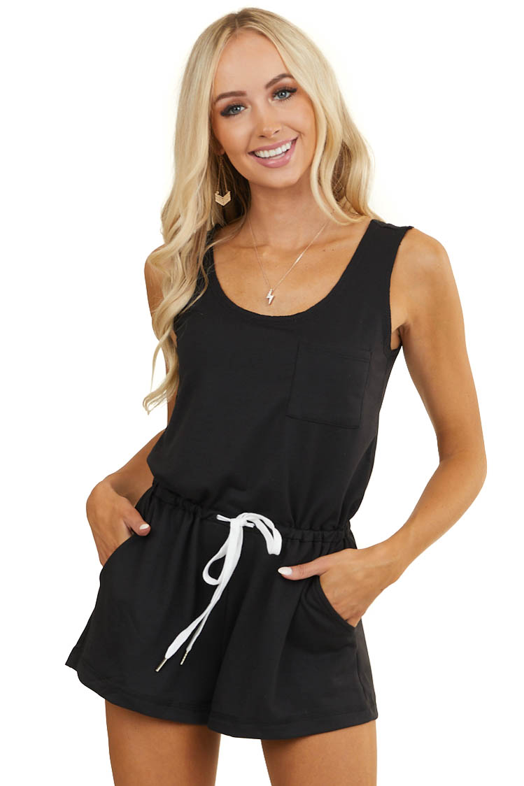 Black Sleeveless Knit Romper with Drawstring and Pockets