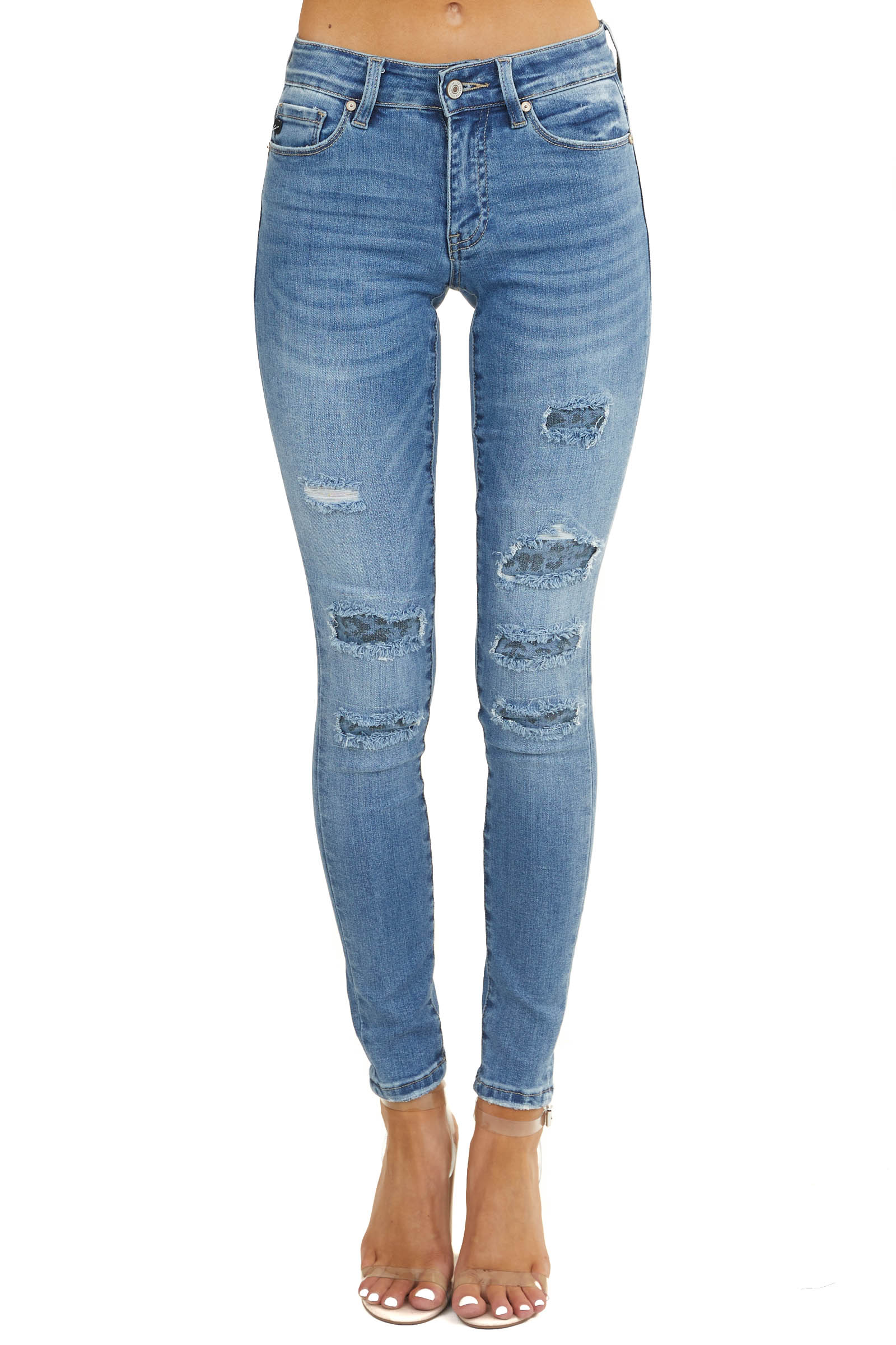 Medium Wash Mid Rise Skinny Jeans with Leopard Print Detail