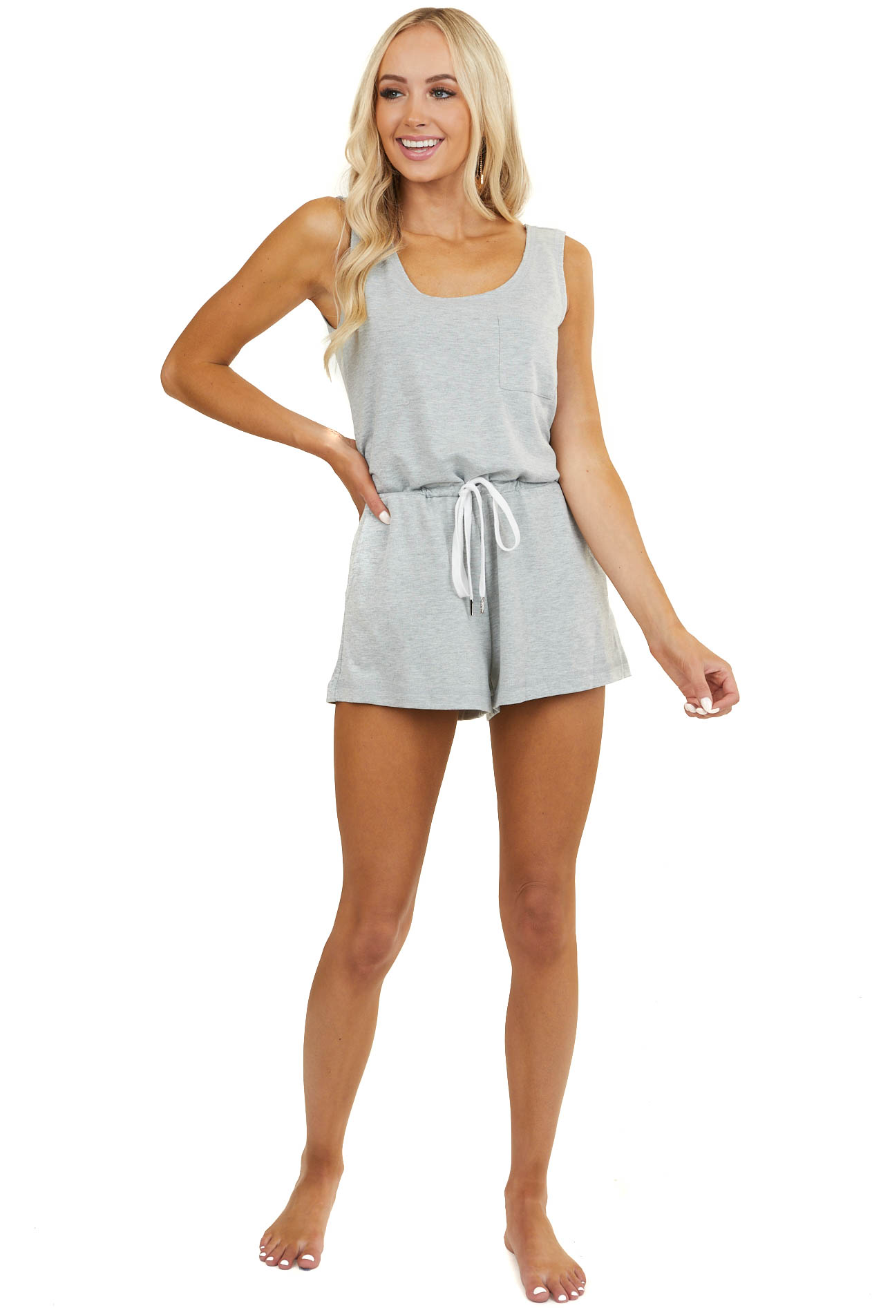 Dove Grey Sleeveless Knit Romper with Drawstring and Pockets