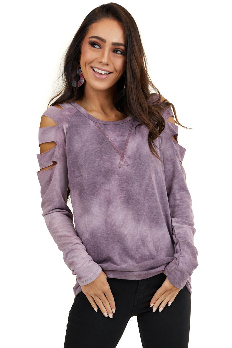 Lavender Tie Dye Long Sleeve Top with Laser Cut Out Details