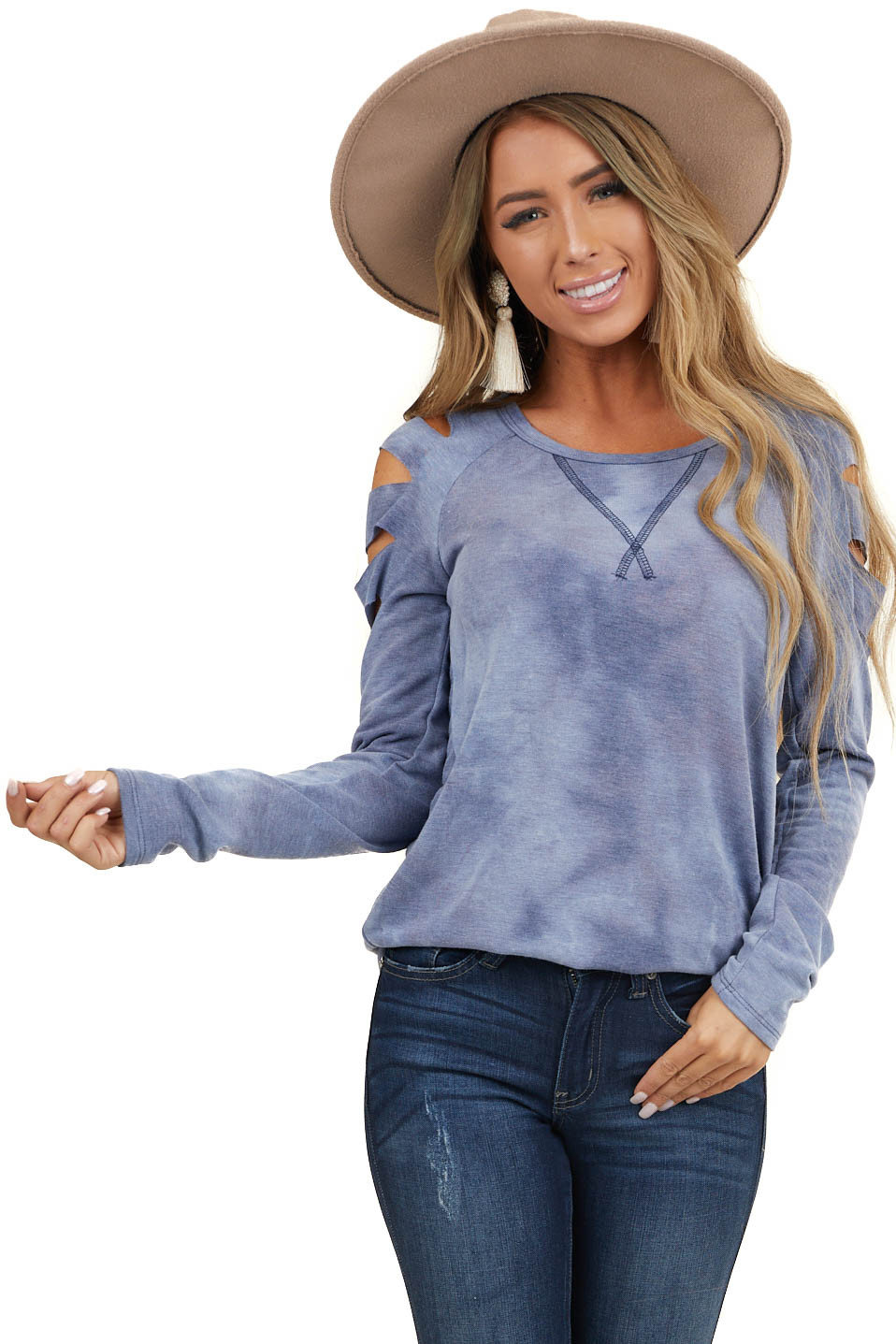 Dusty Blue Tie Dye Long Sleeve Top with Laser Cut Out Detail