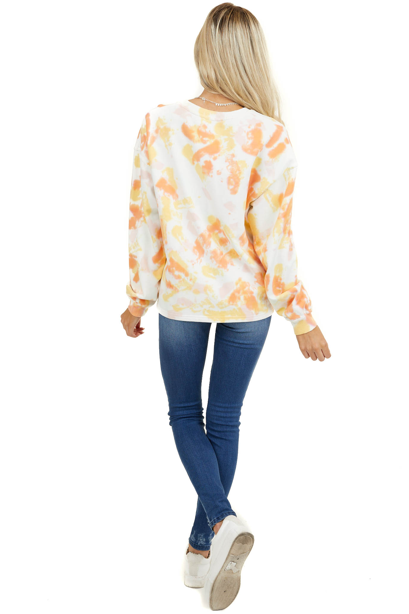 Ivory Multicolor Tie Dye Knit Sweatshirt with Long Sleeves