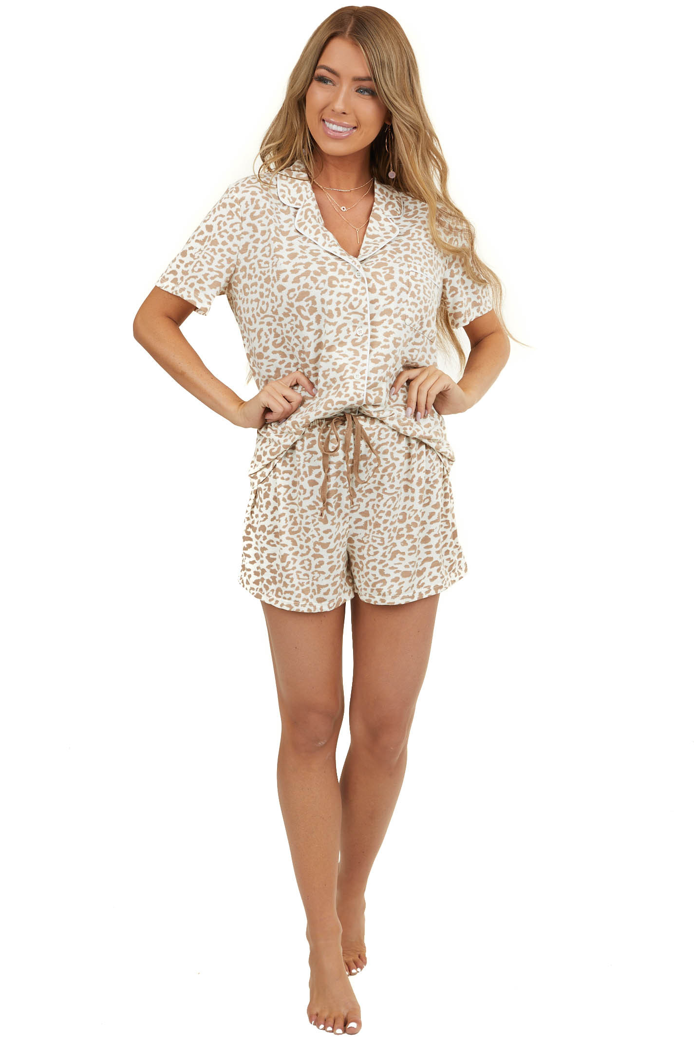 Ivory Leopard Print Super Soft Knit Lounge Set