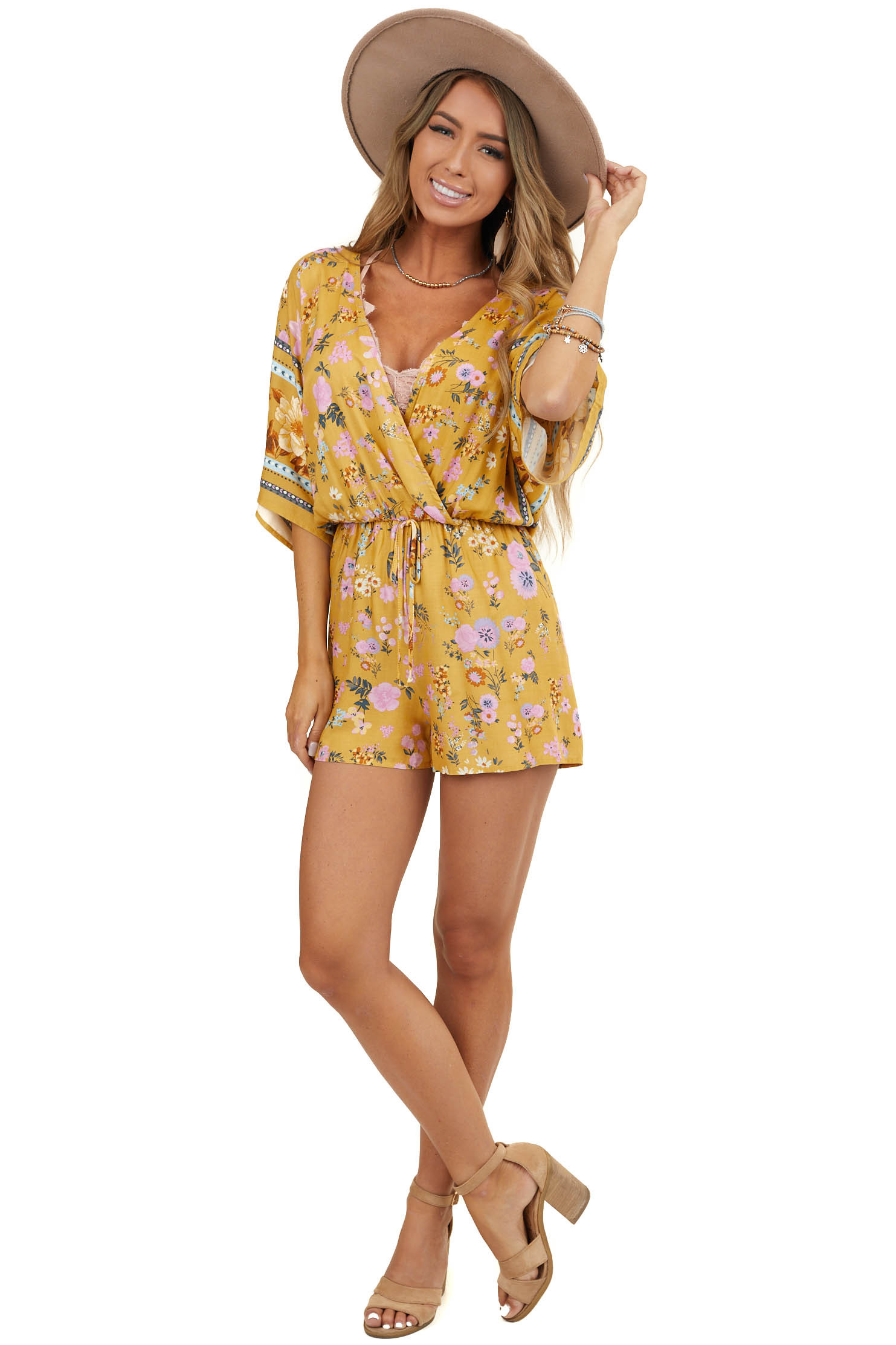 Mustard Yellow Floral Deep V Neck Romper with Keyhole Back