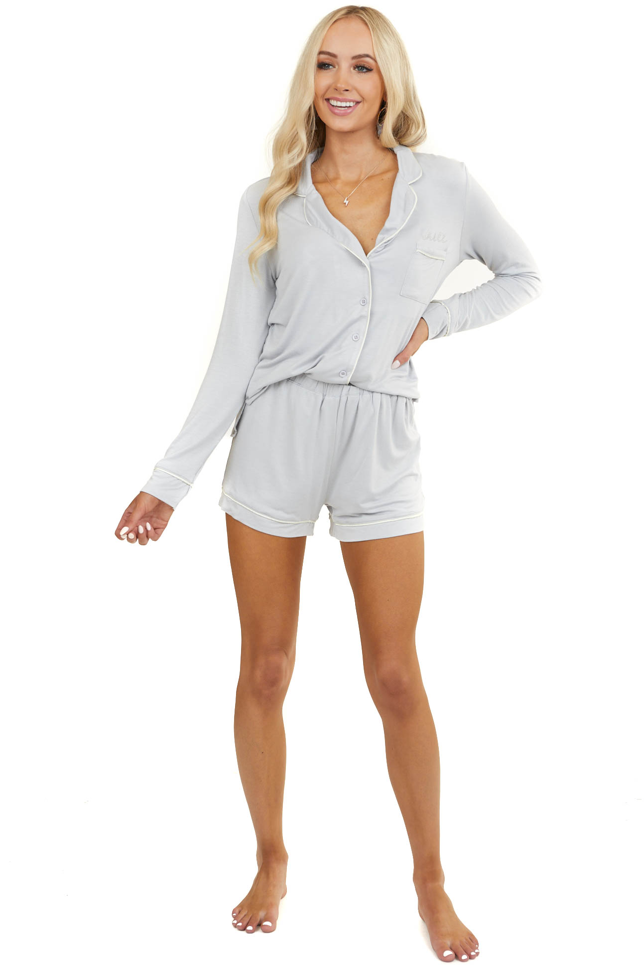 "Dove Grey Super Soft Knit Lounge Set with ""Chill"" Embroidery"