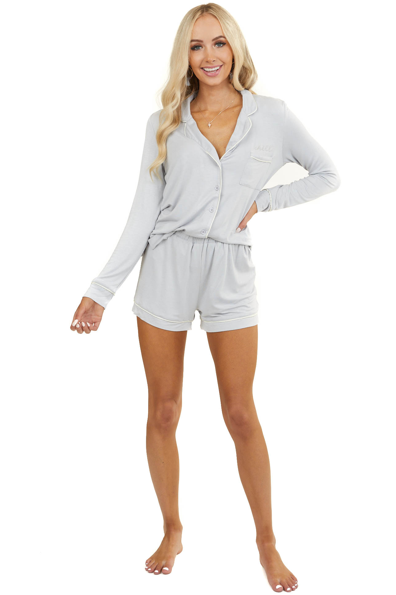 """Dove Grey Super Soft Knit Lounge Set with """"Chill"""" Embroidery"""