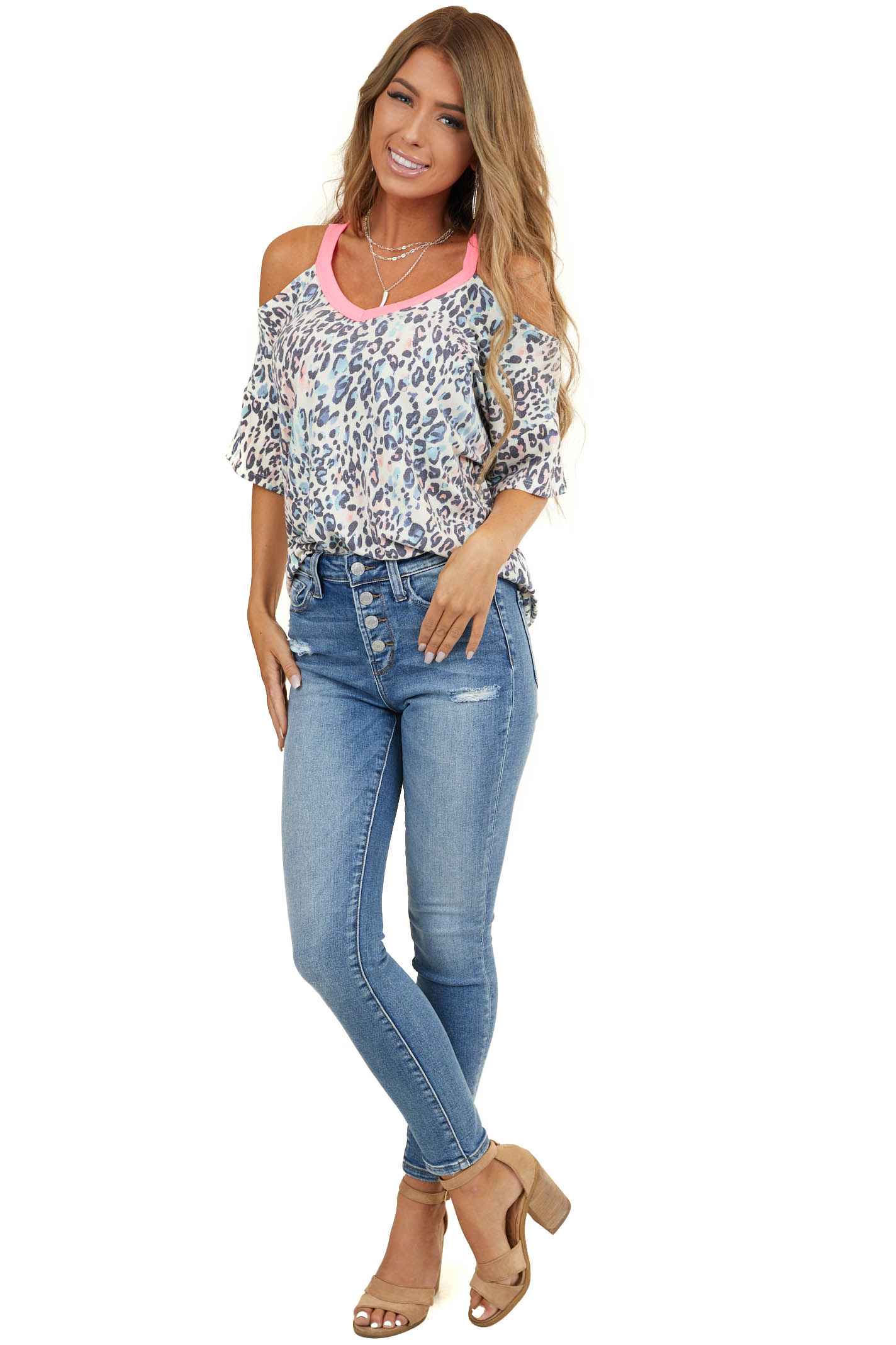 Cream Leopard Cold Shoulder Top with Hot Pink Trim Contrast