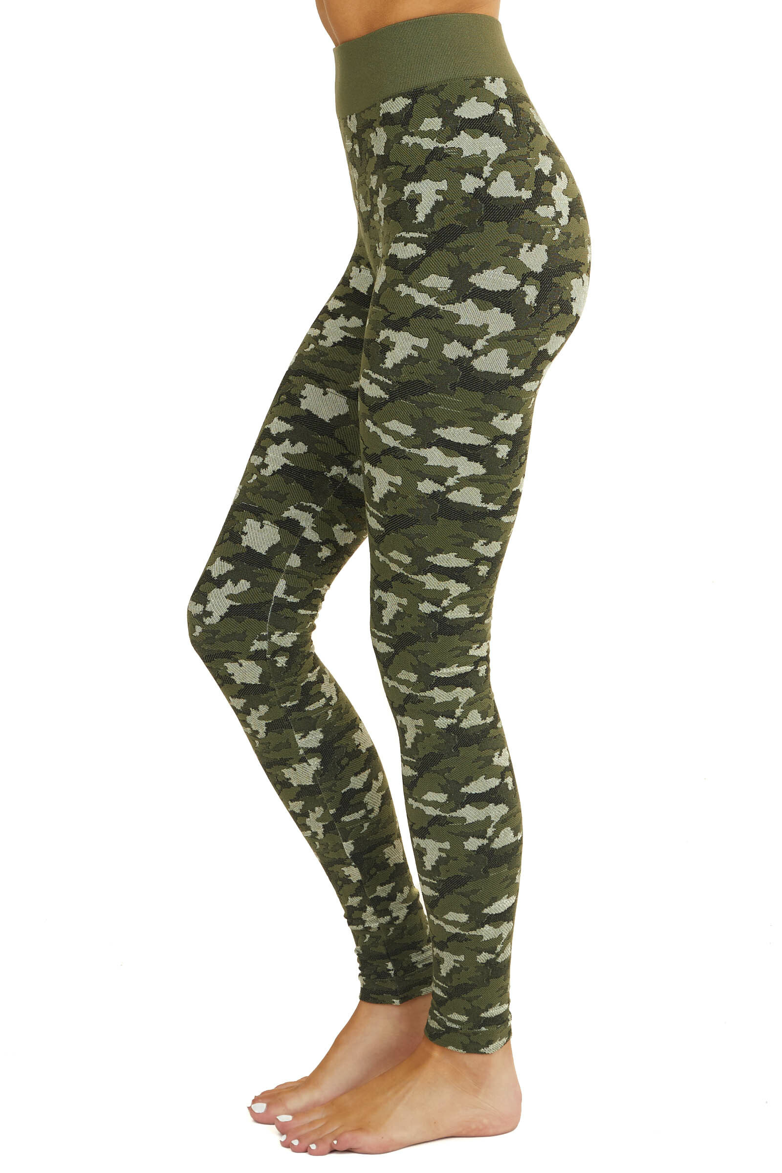Olive and Faded Sage Camo Print High Waisted Leggings