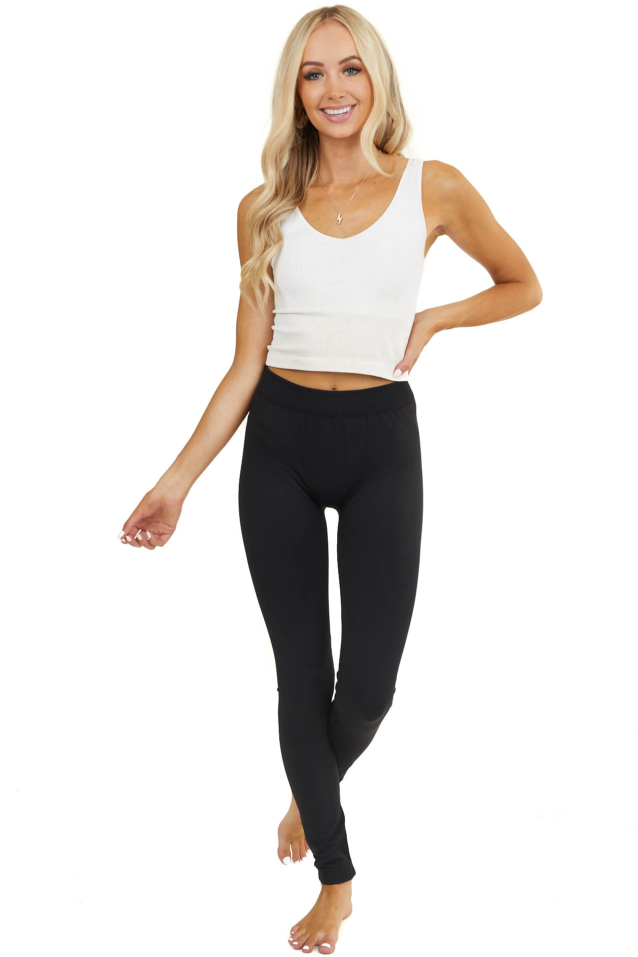 Black High Waisted Lightweight Stretchy Leggings