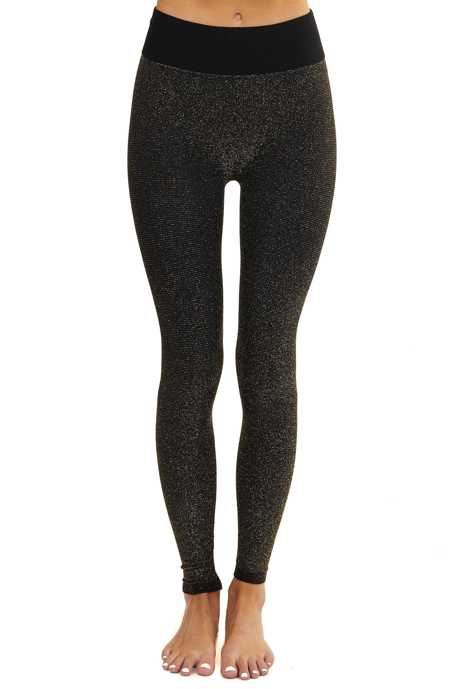 Black Stretchy Knit Leggings with Gold Threading
