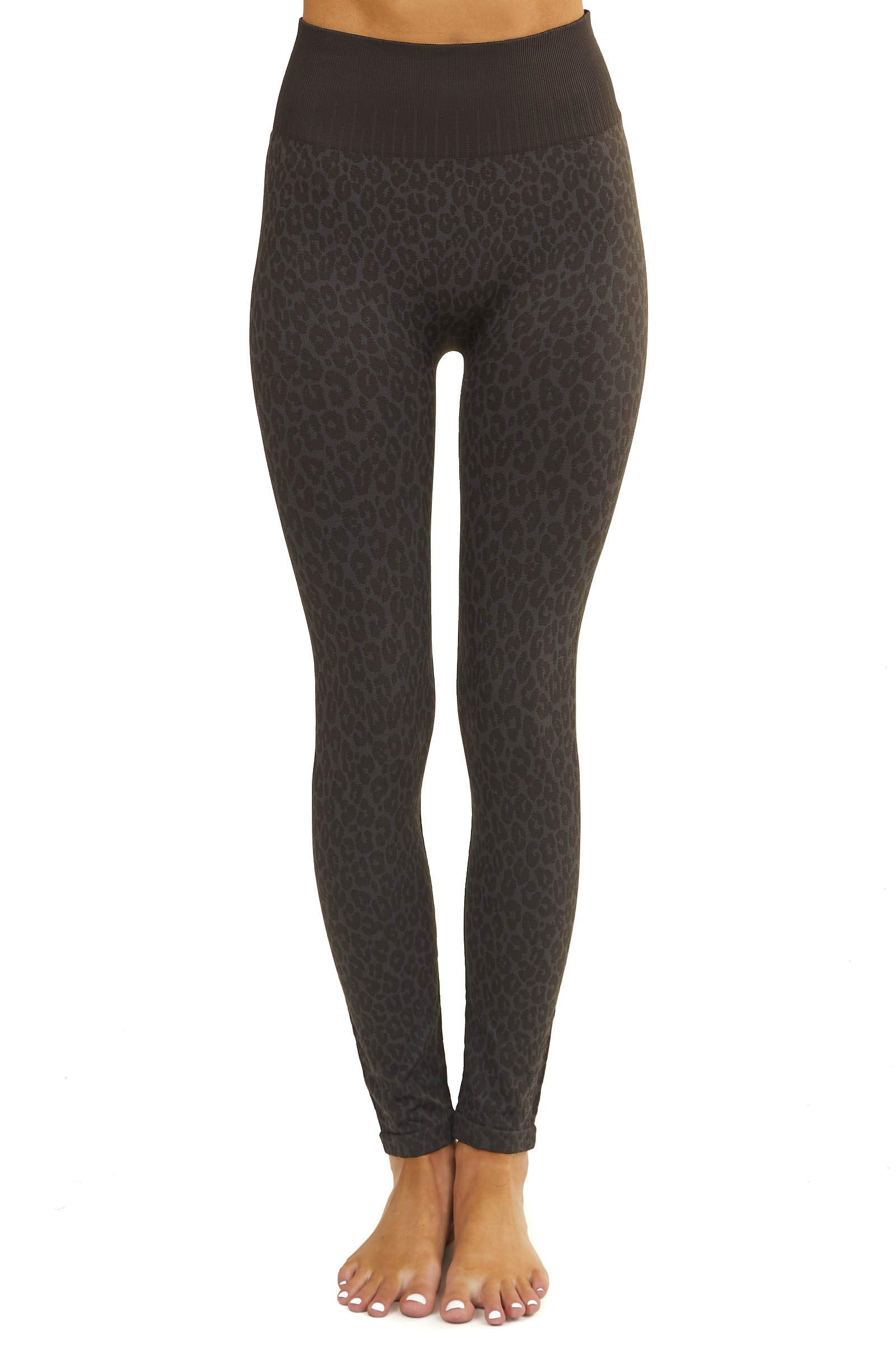 Charcoal and Stone Grey Leopard Print High Waisted Leggings