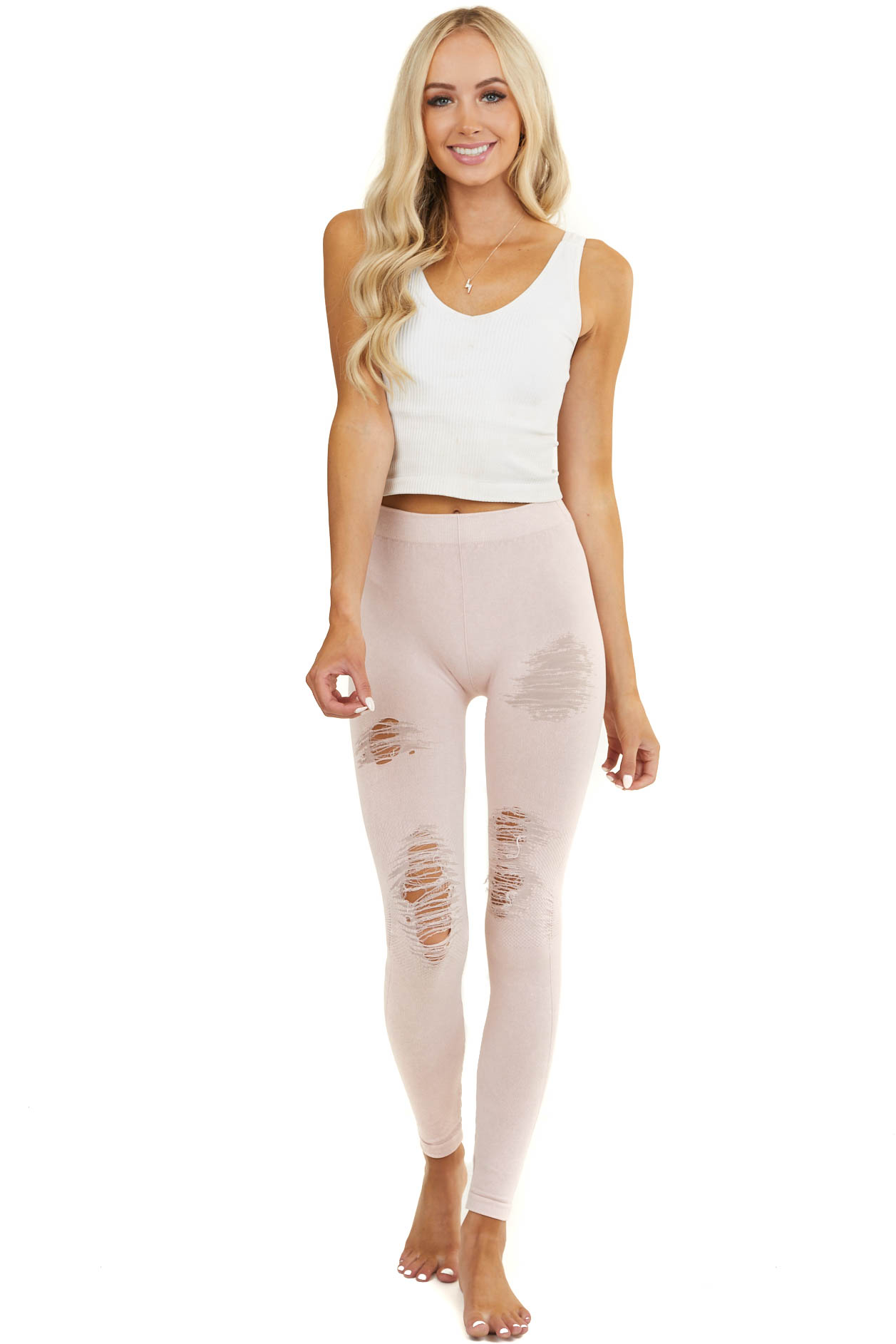 Pale Dusty Blush Jeggings with Distressed Details