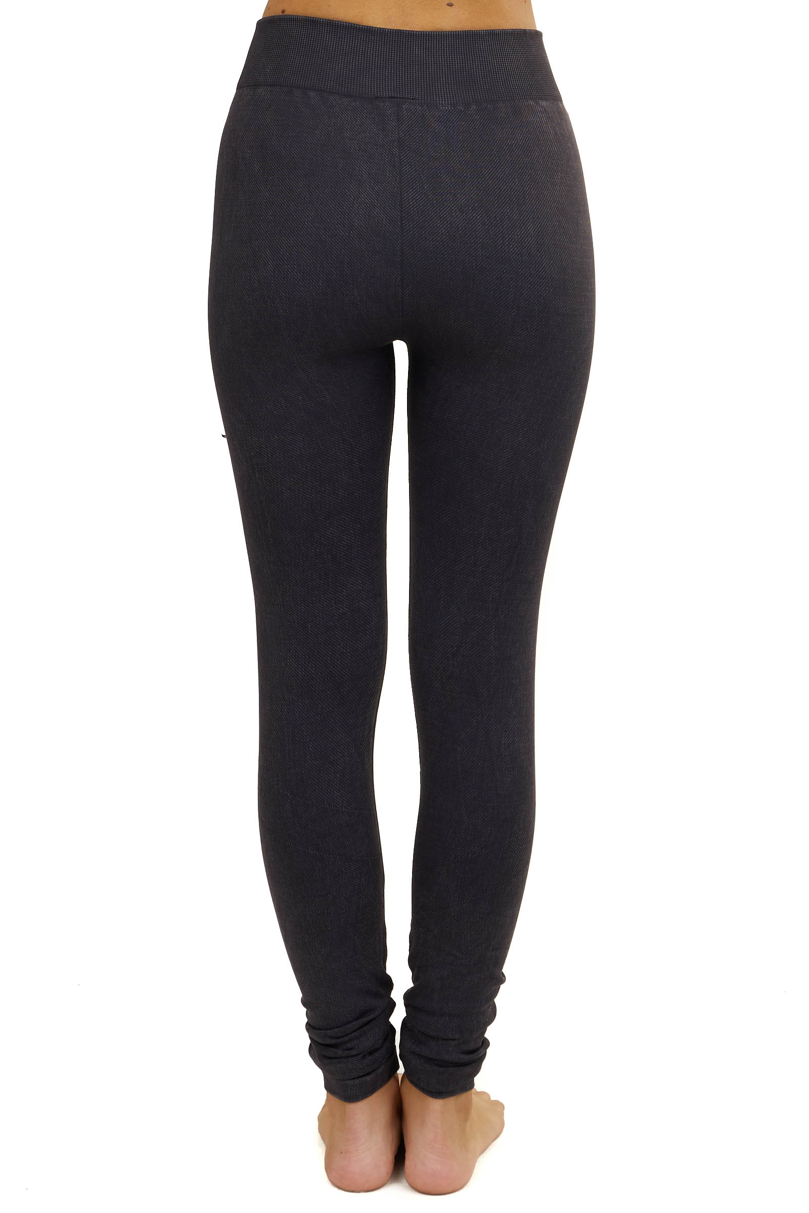 Faded Charcoal Moto Leggings with Distressed Details