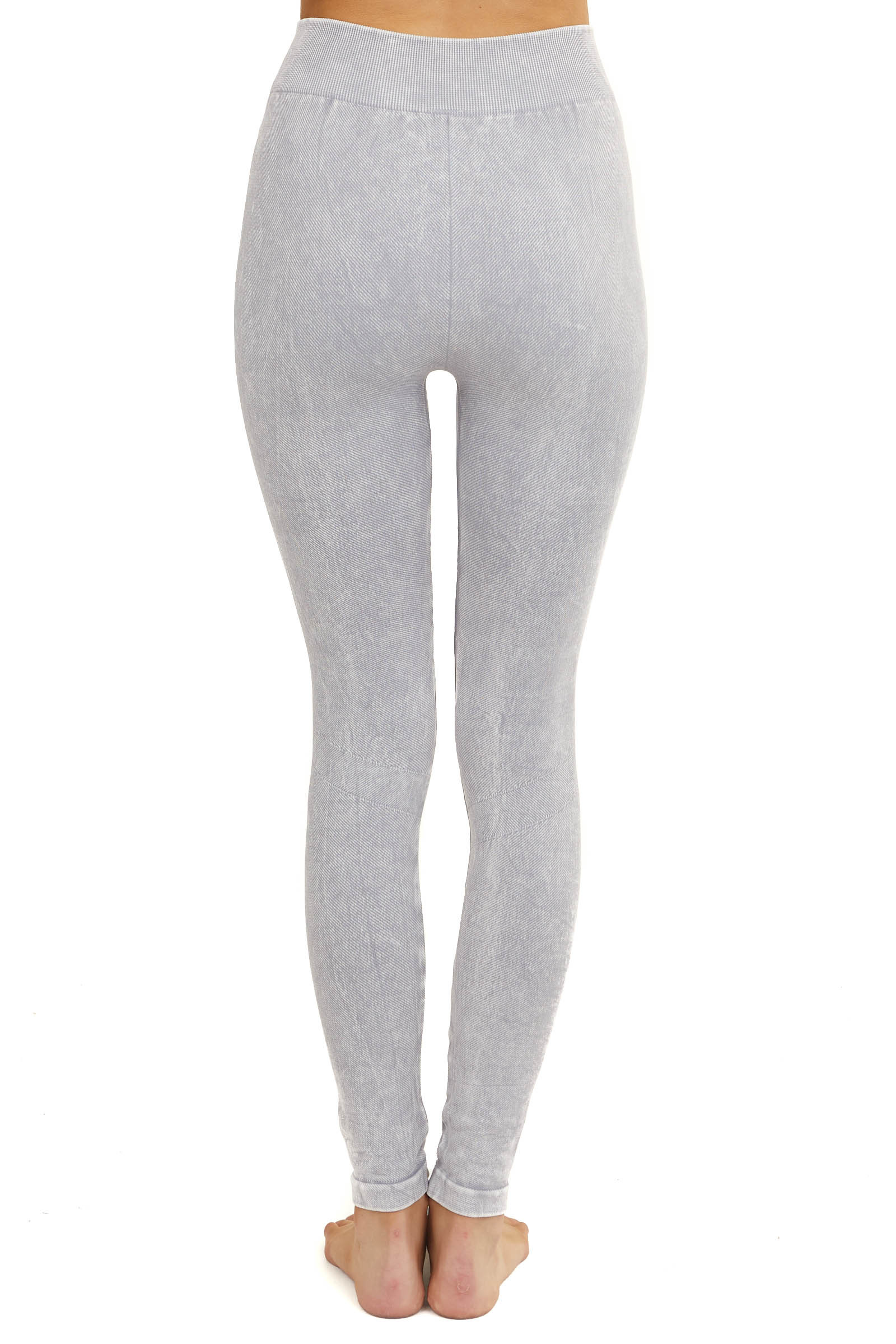 Faded Dove Grey Moto Leggings with Distressed Details