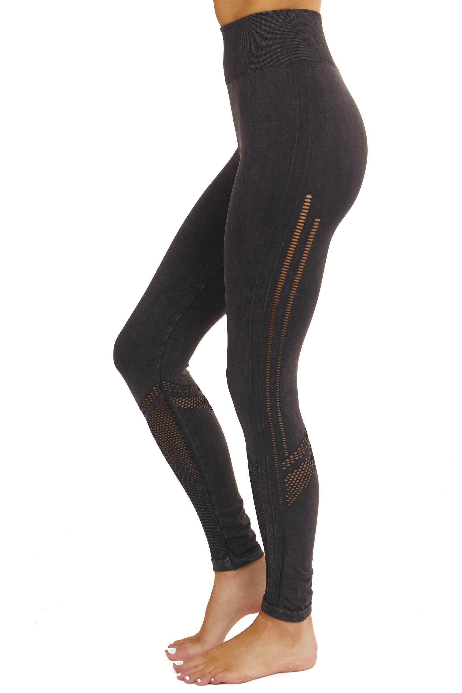 Faded Black Stretchy Leggings with Mesh Details