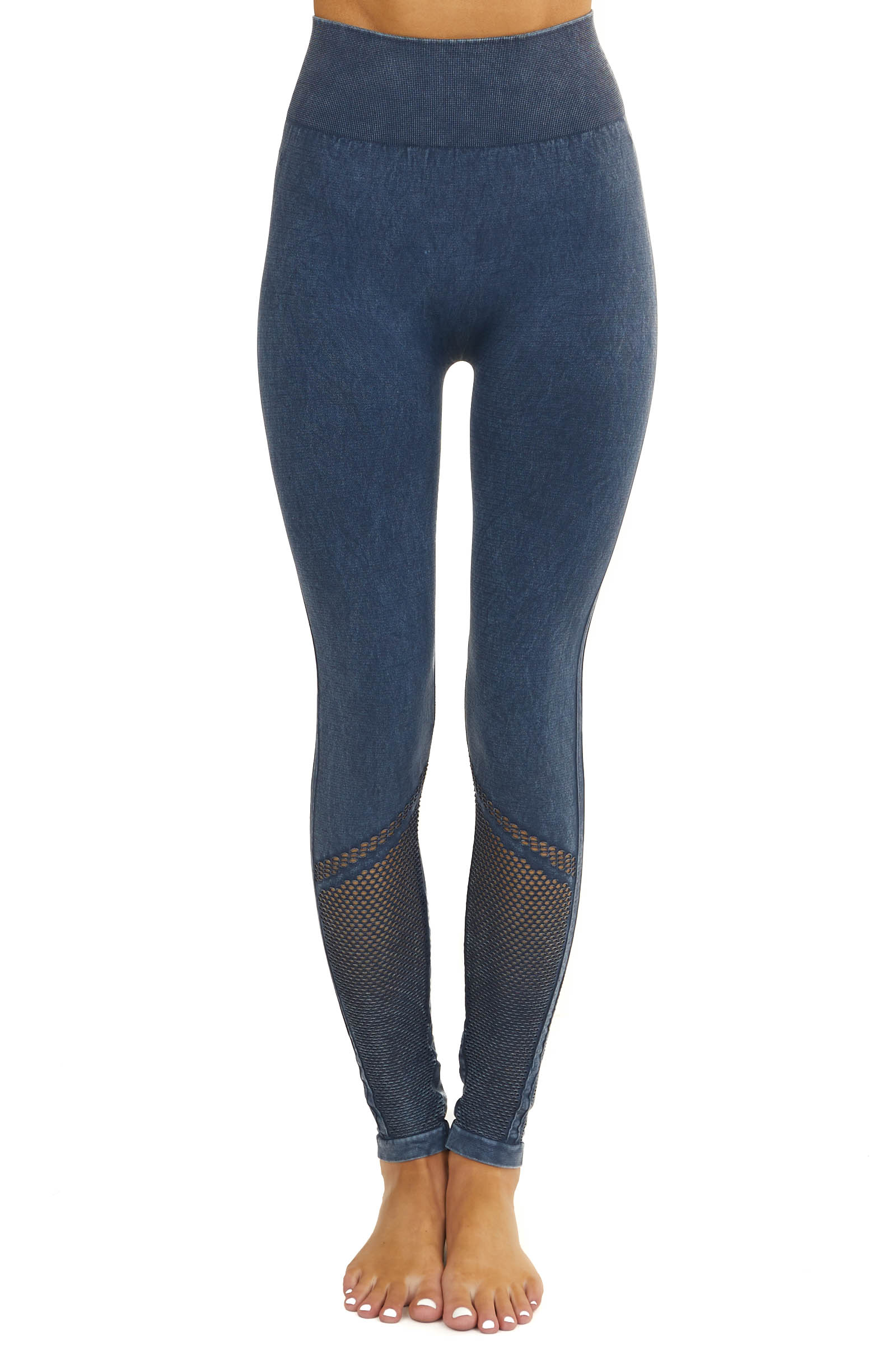 Faded Navy Stretchy Leggings with Mesh Details