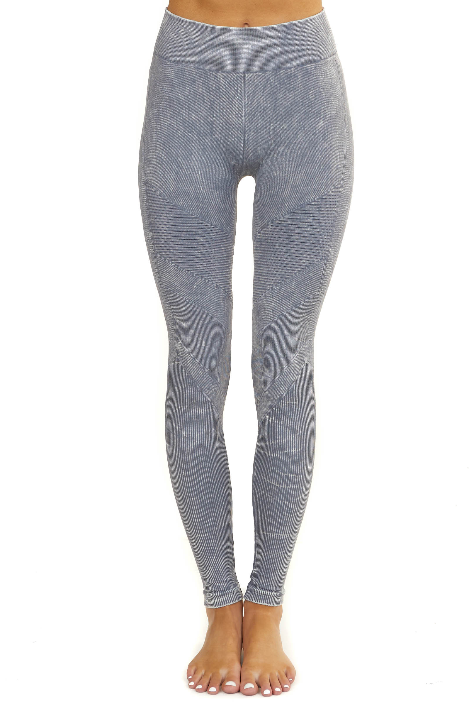 Faded Slate Grey High Waisted Stretchy Moto Leggings