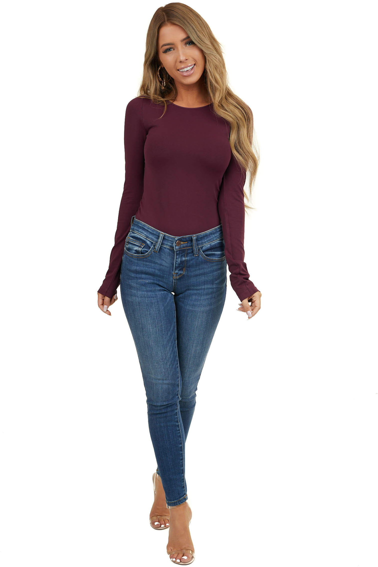 Eggplant Purple Seamless Long Sleeve Crew Neck Top