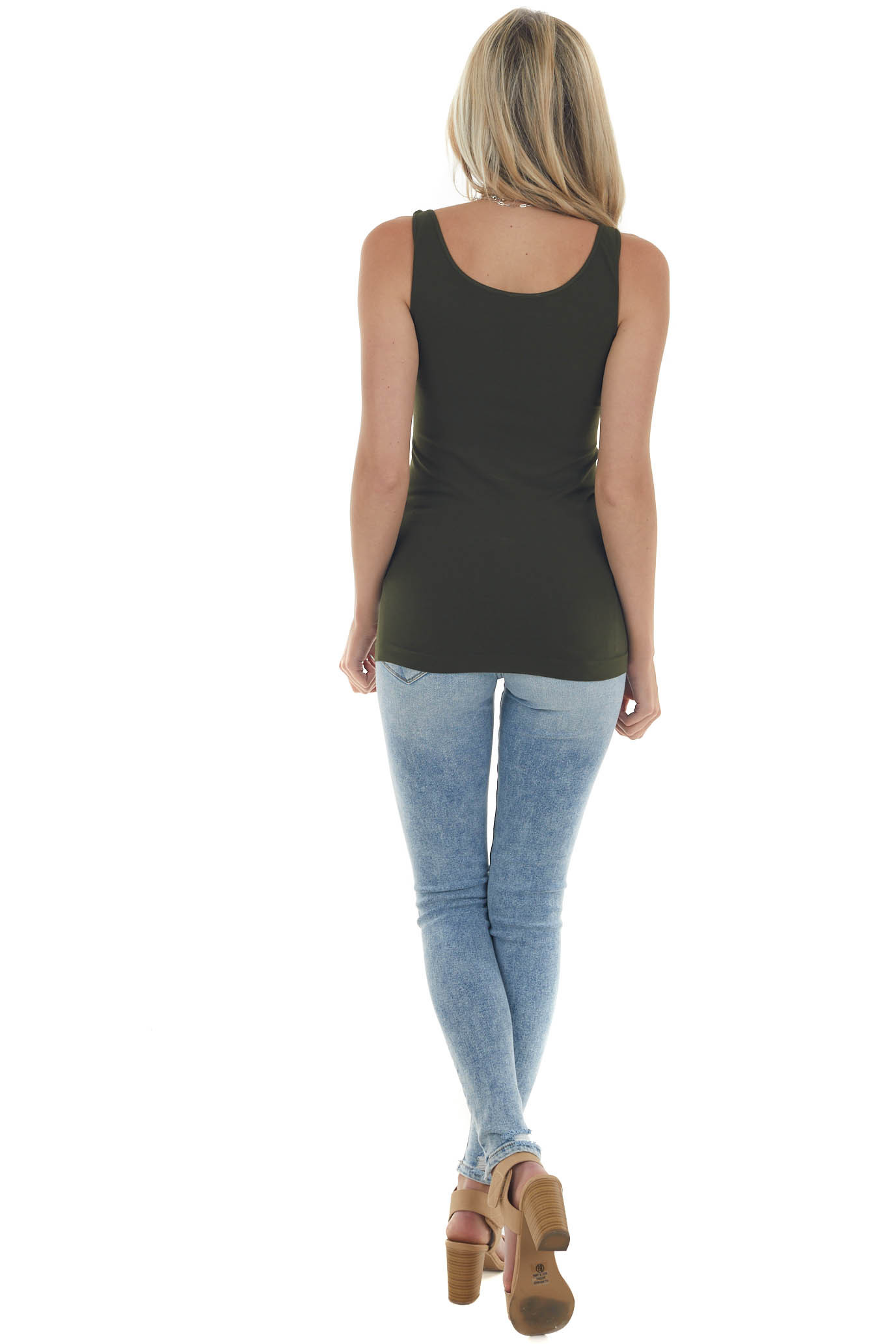 Olive Green Seamless Long Tank Top