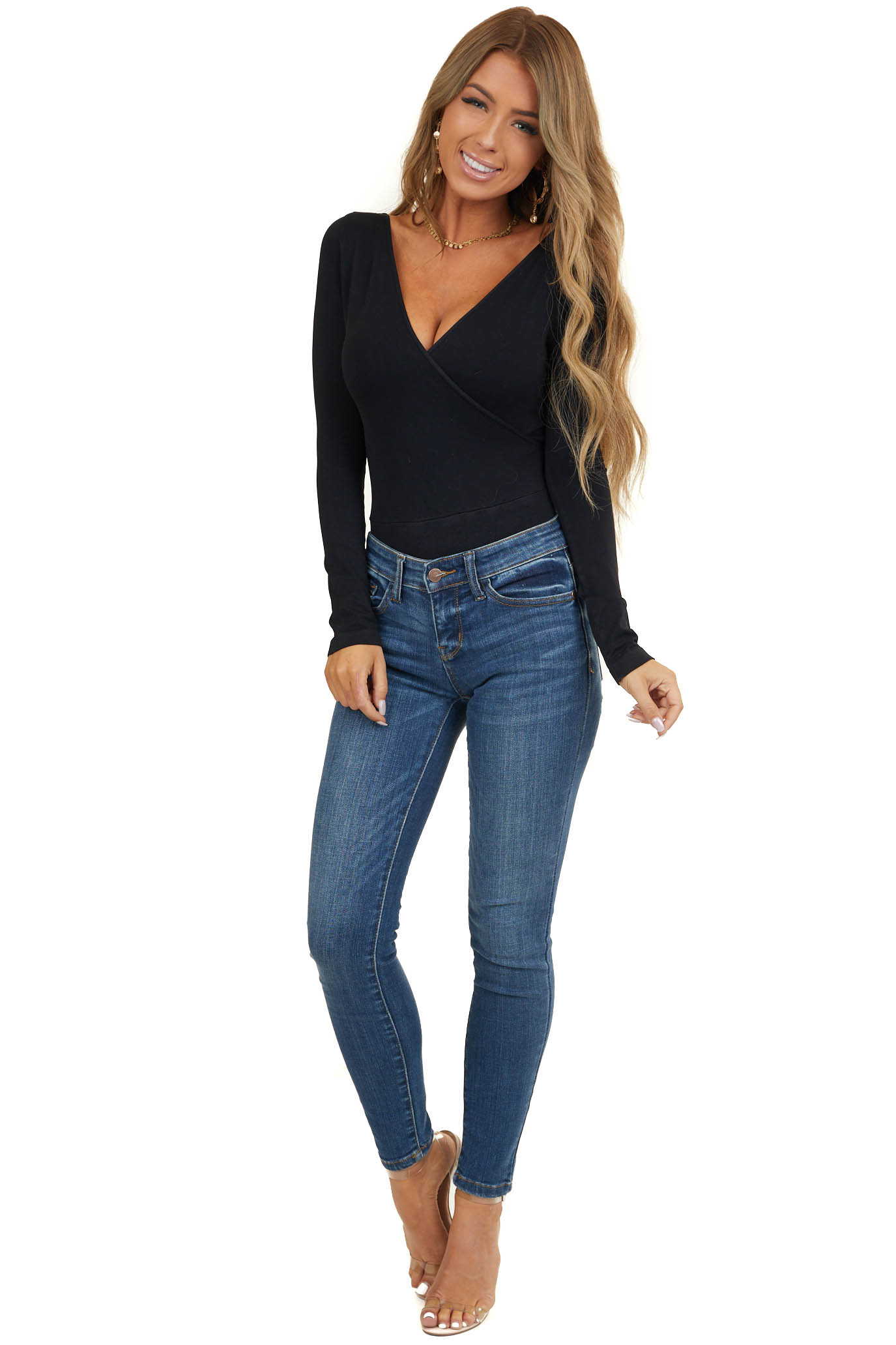 Black Surplice Knit Bodysuit with Long Sleeves