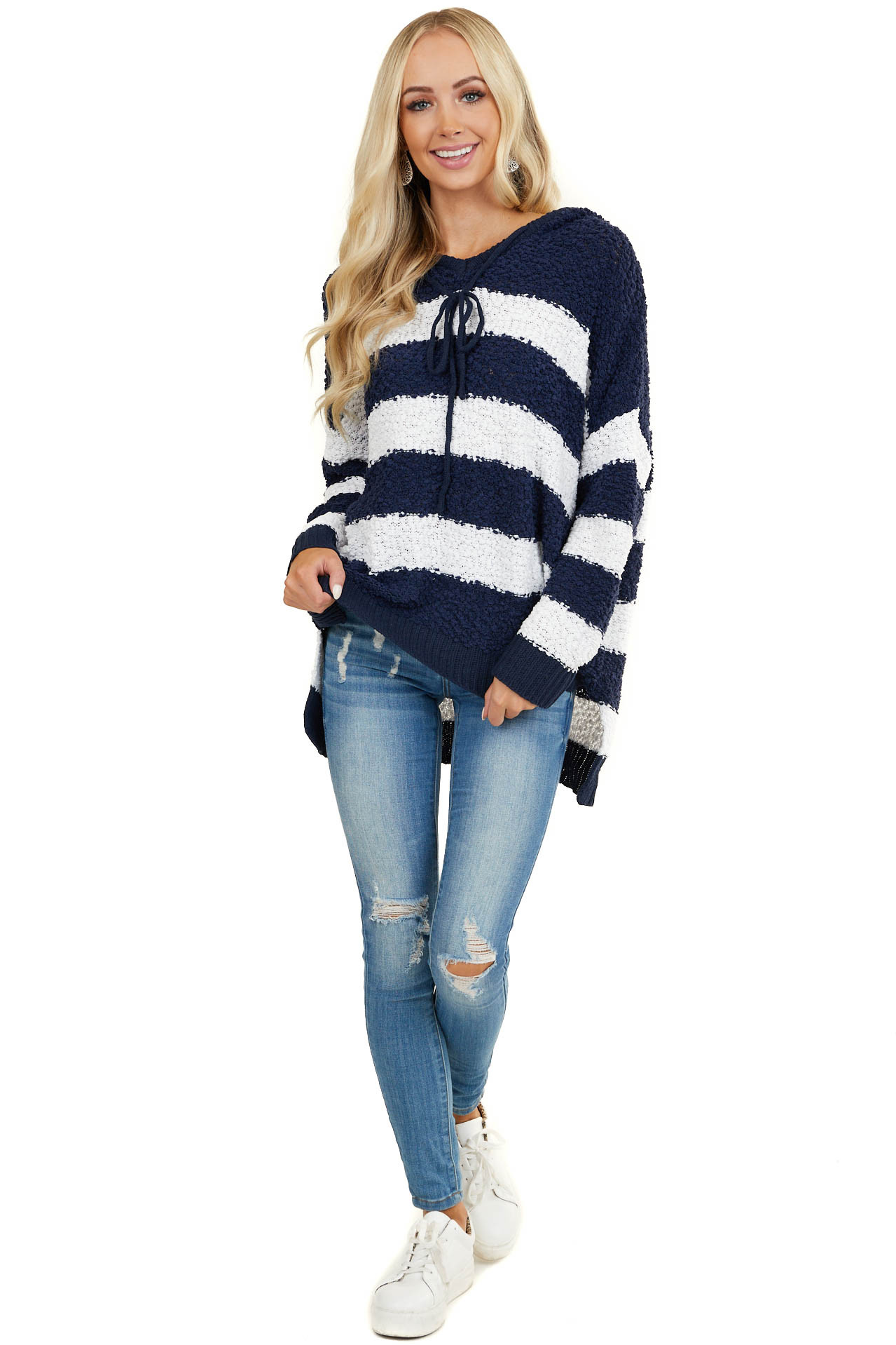 Navy and White Striped Hoodie Sweater with Long Sleeves
