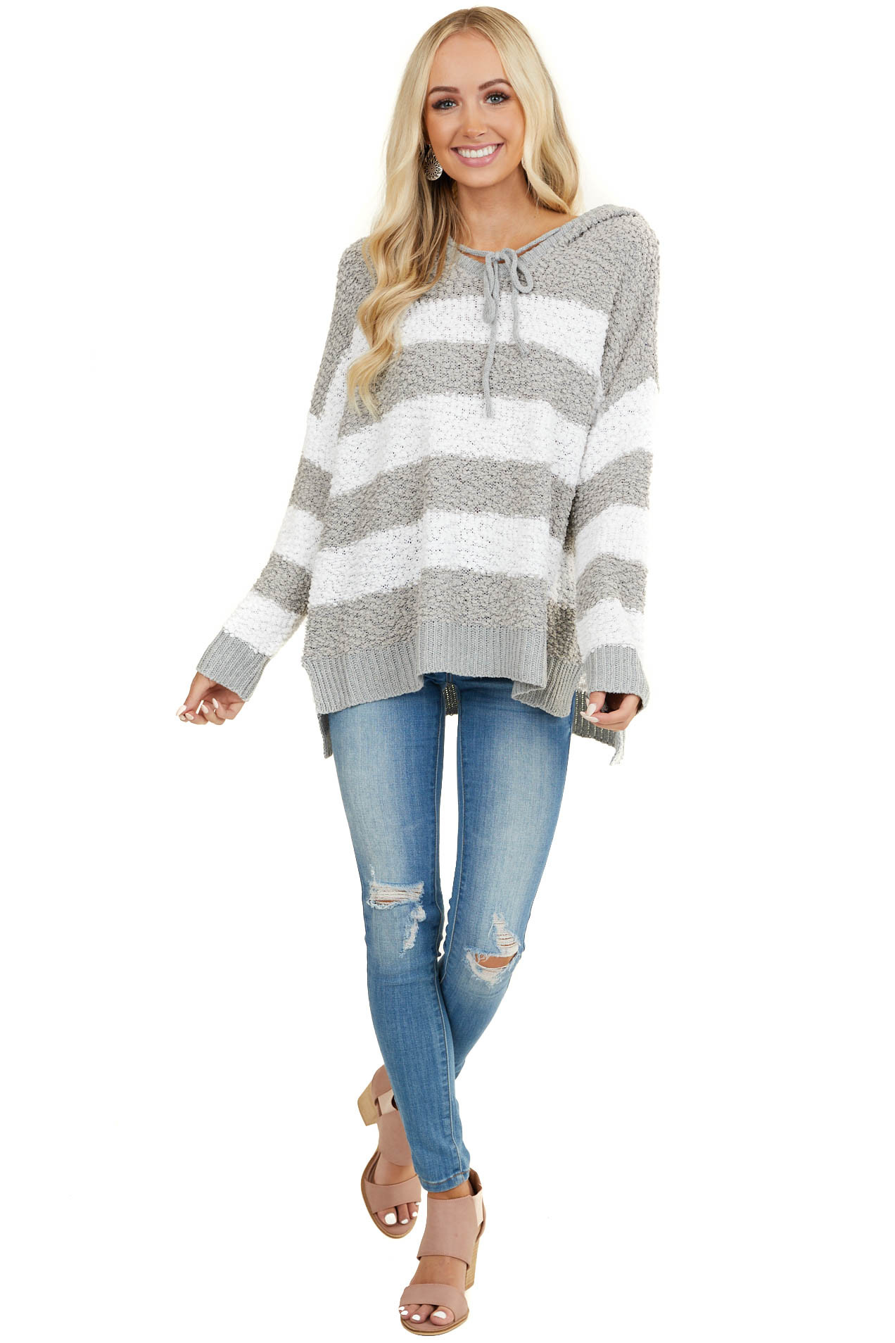 Dove Grey and White Striped Hoodie Sweater with Long Sleeves