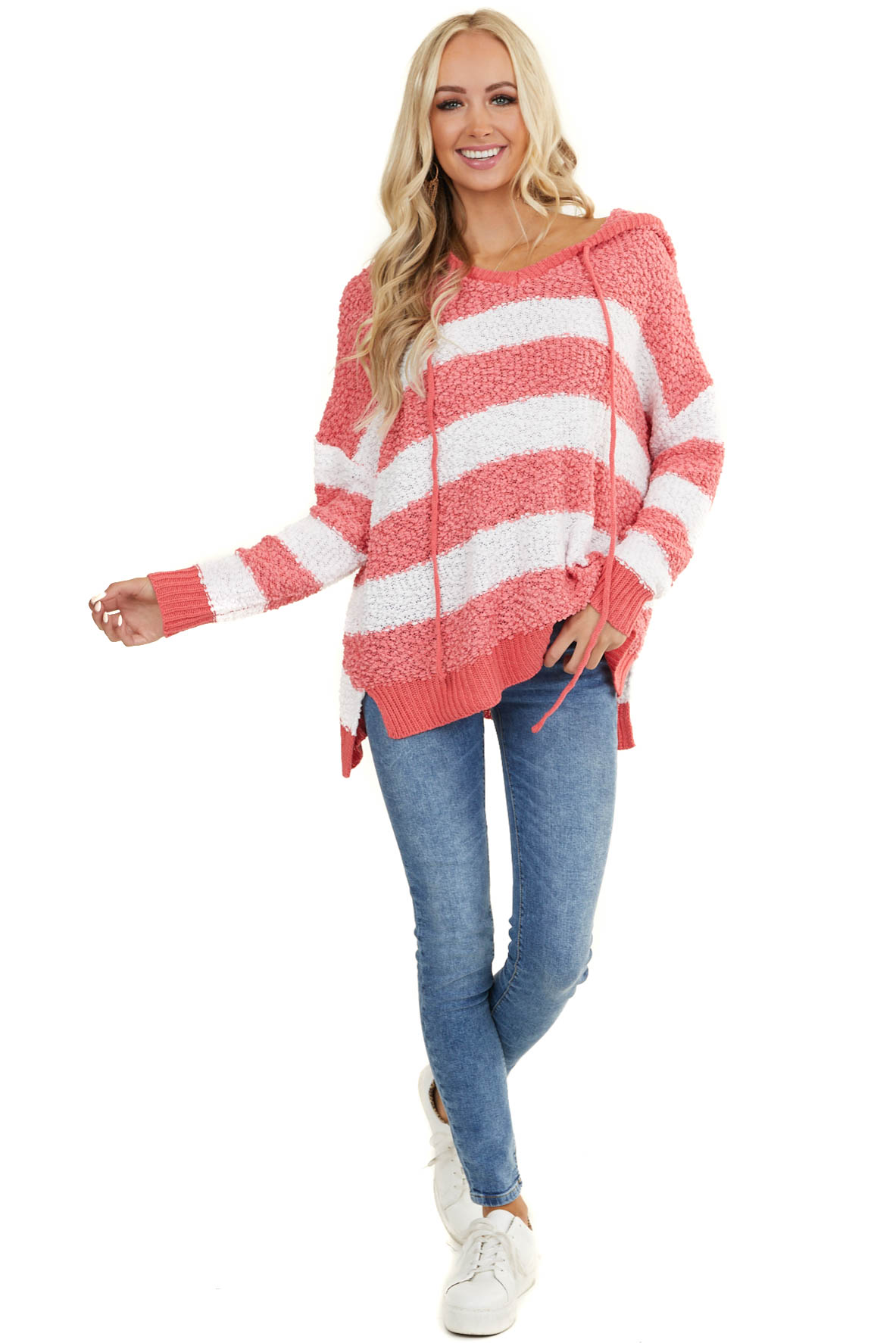 Dark Pink and White Striped Hoodie Sweater with Long Sleeves