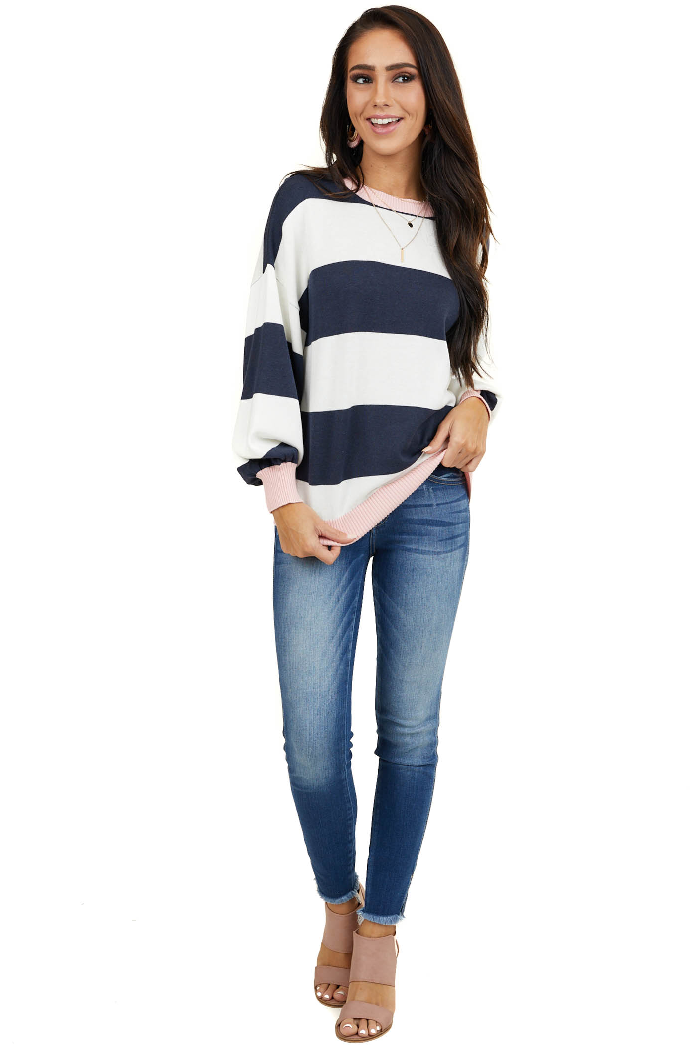 Navy and Ivory Long Sleeve Sweater with Blush Accents