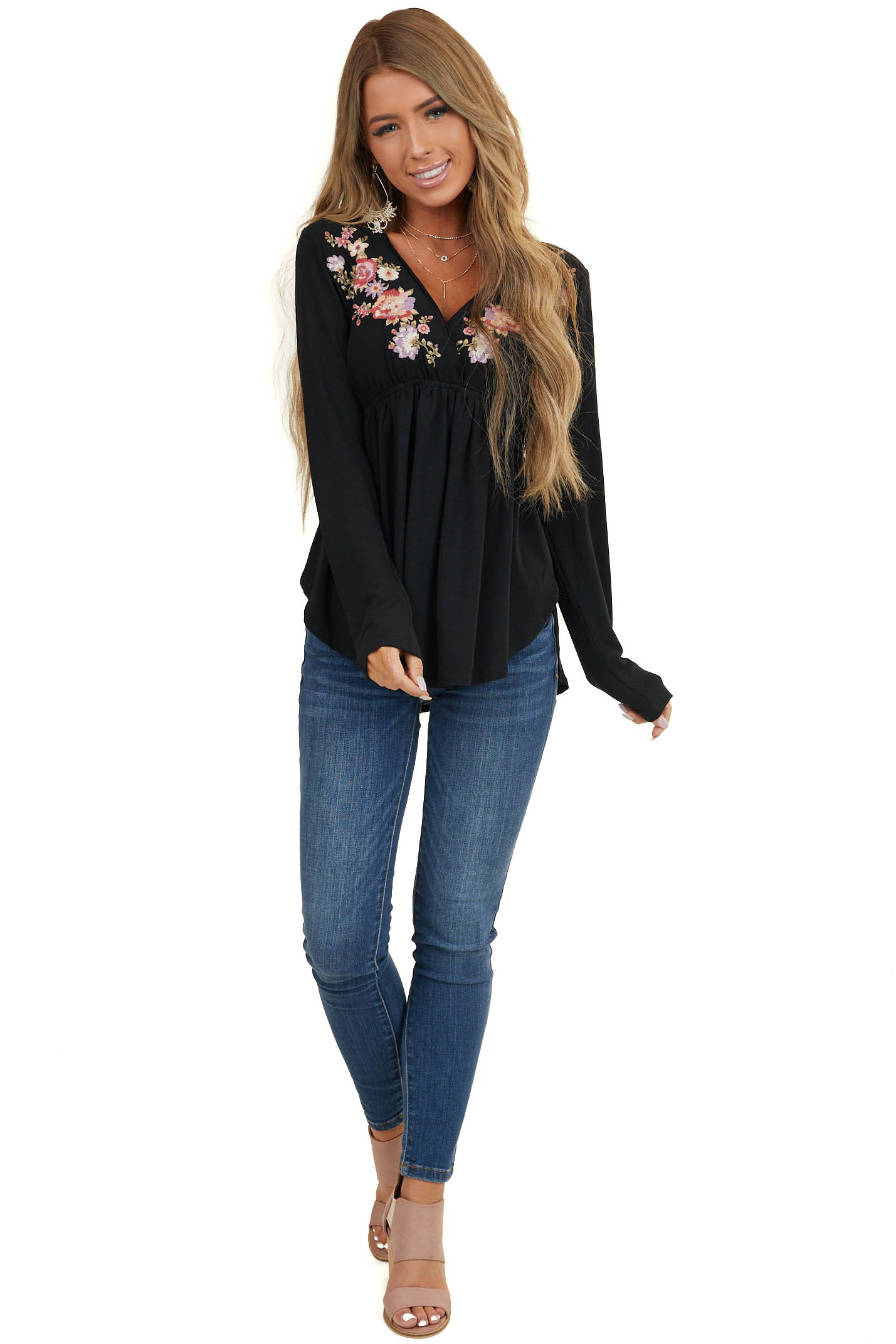 Black Babydoll Long Sleeve Top with Floral Embroidery Detail