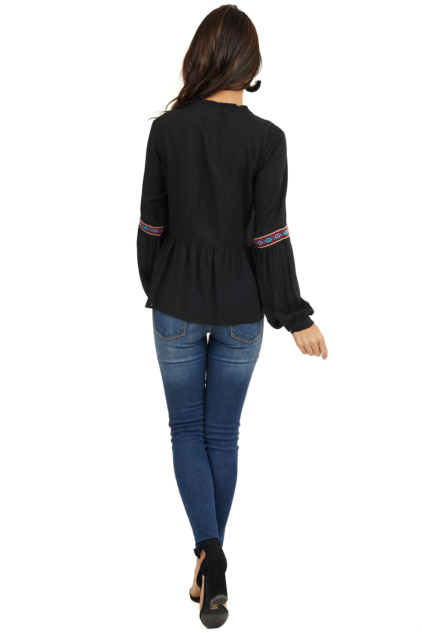 Black Long Sleeve Drop Waist Blouse with Embroidery Details