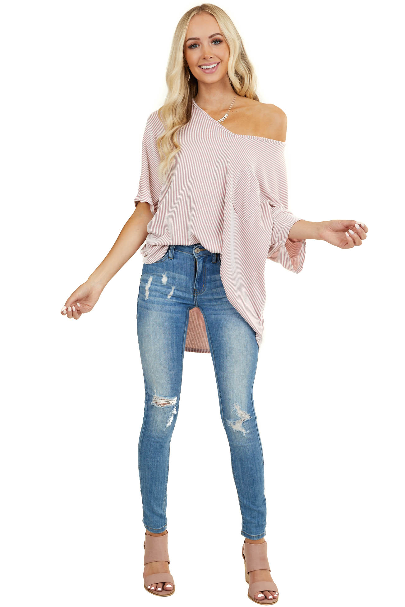 Dusty Blush Top with Textured Stripes and Front Pocket