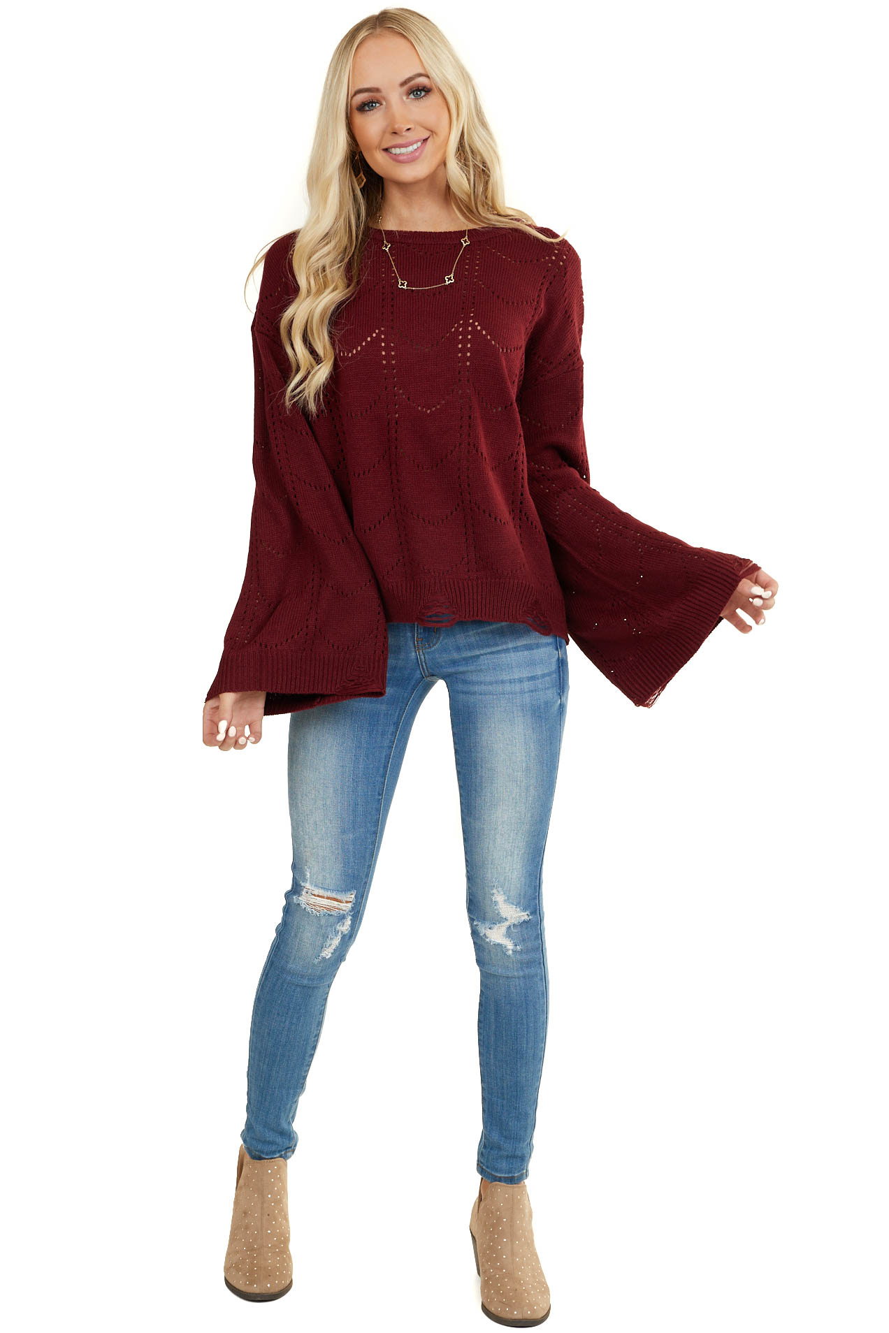 Burgundy Patterned Sweater with Distressed Details