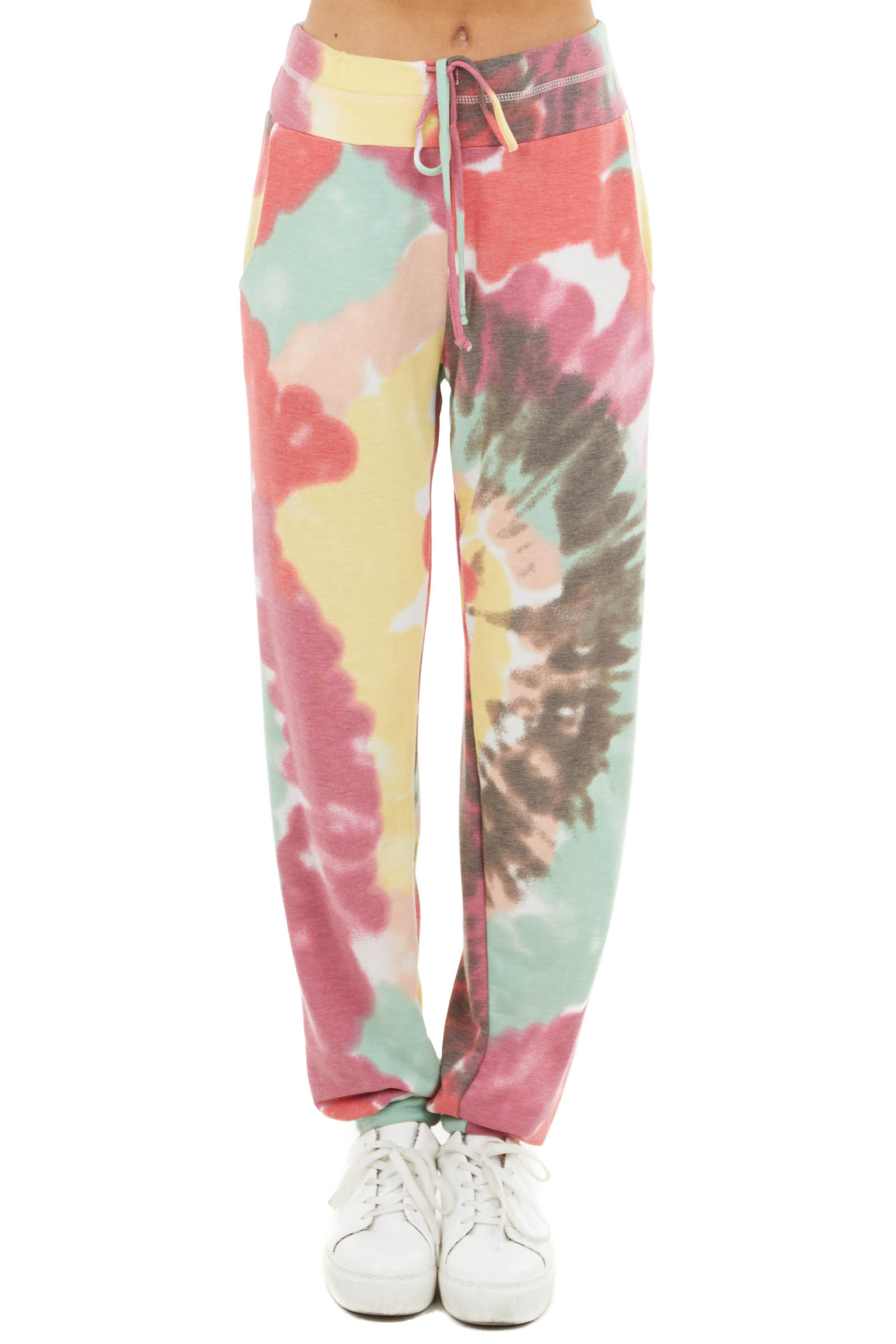 Multicolor Tie Dye Joggers with Drawstring Waist and Pockets