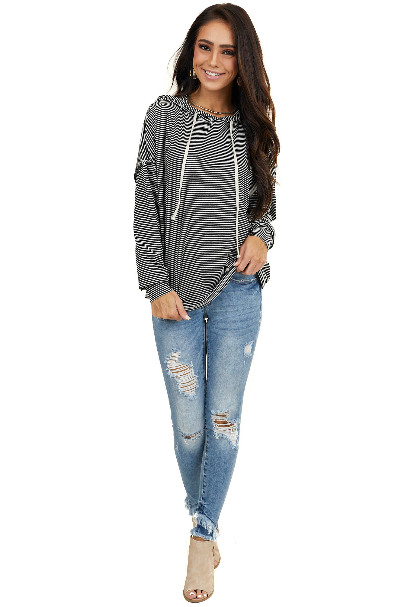 Black and White Striped Top with Hood and Long Sleeves