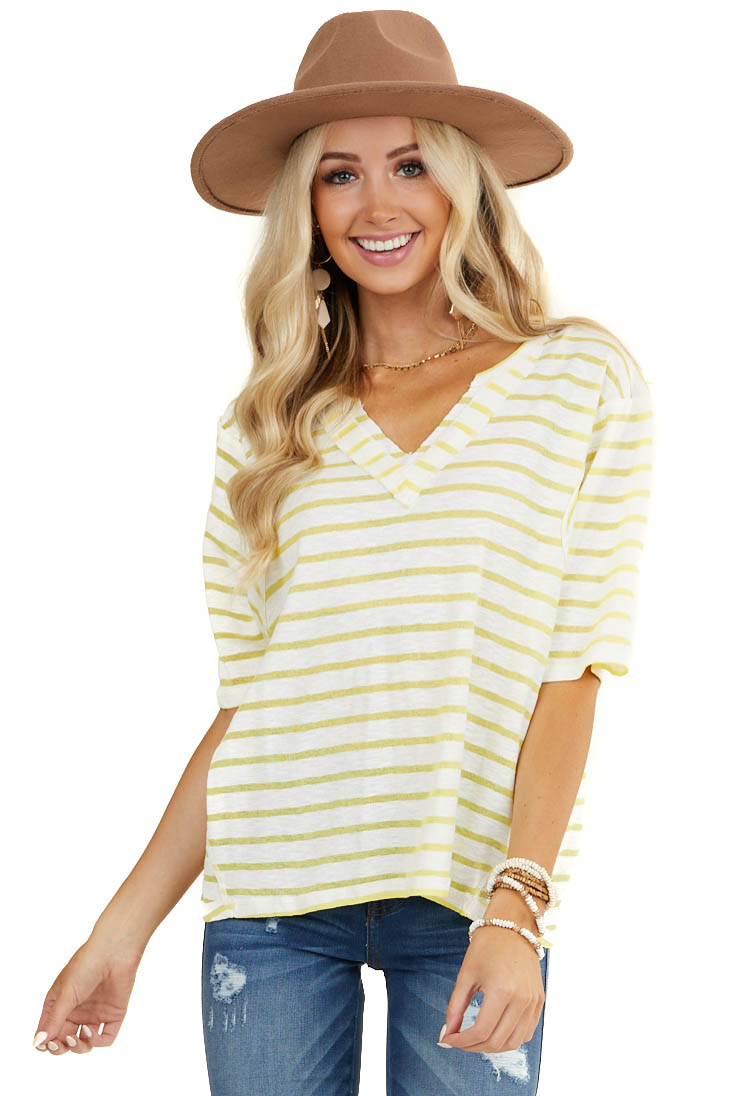 Yellow and White Striped Short Sleeve Top with V Neckline