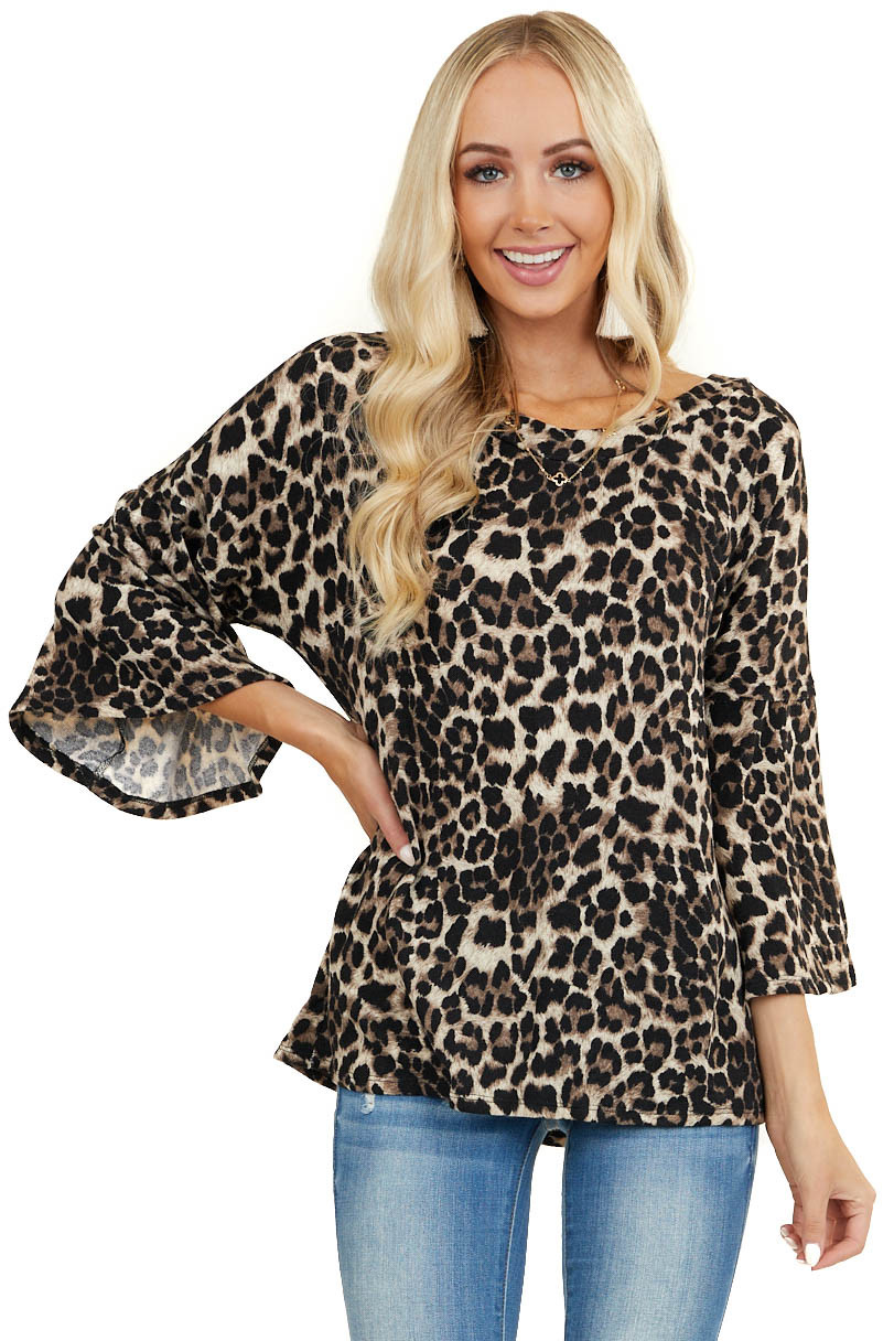 Mocha Leopard Print Top with Flared Sleeves and Open Back
