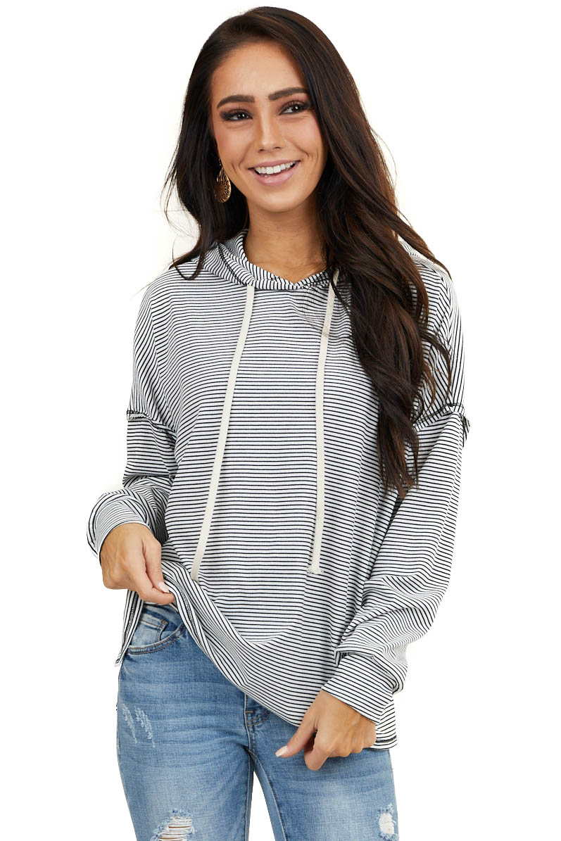 White and Black Striped Top with Hood and Long Sleeves