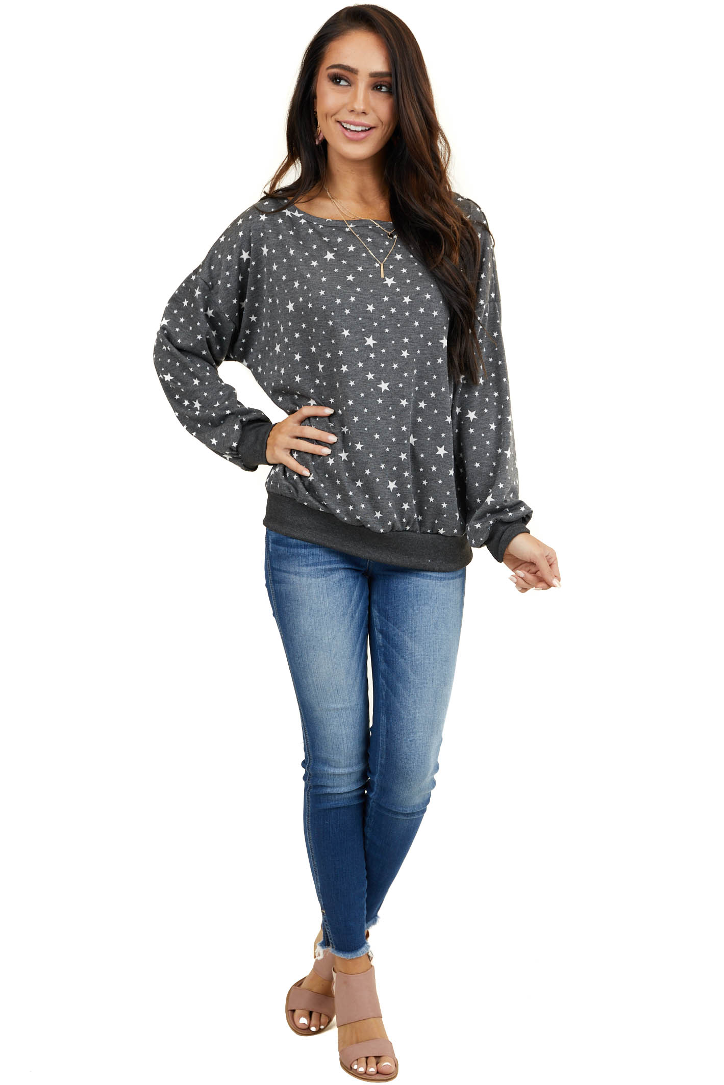 Stormy Grey Long Sleeve Top with Wide Neck and Star Details
