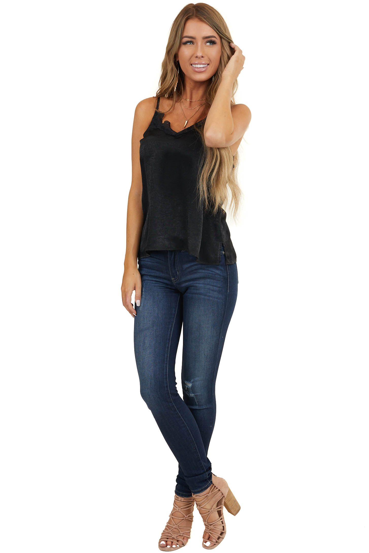 Black Satin V Neck Camisole Top with Lace Details