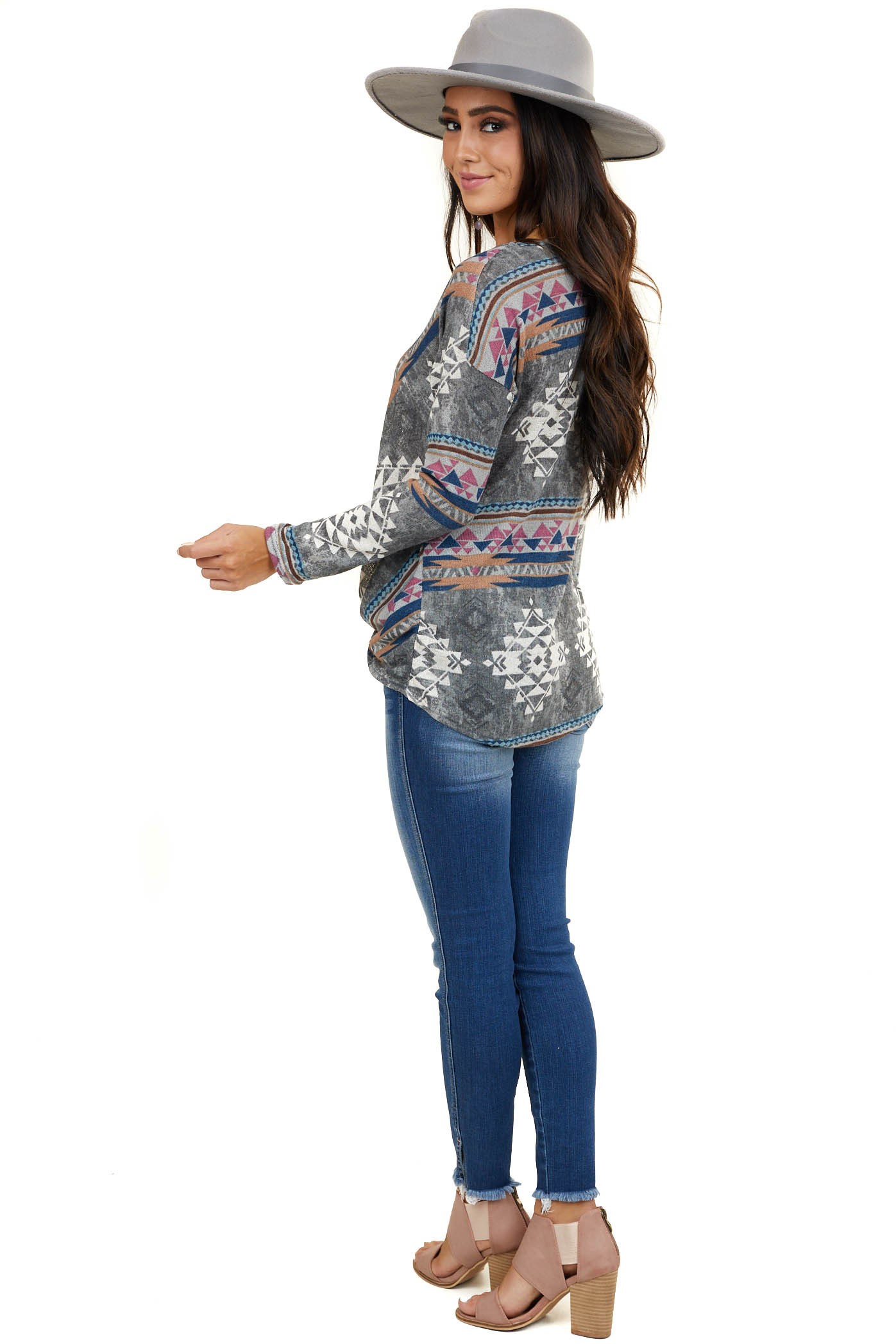 Stormy Grey Aztec Print Loose Knit Top with Front Twist