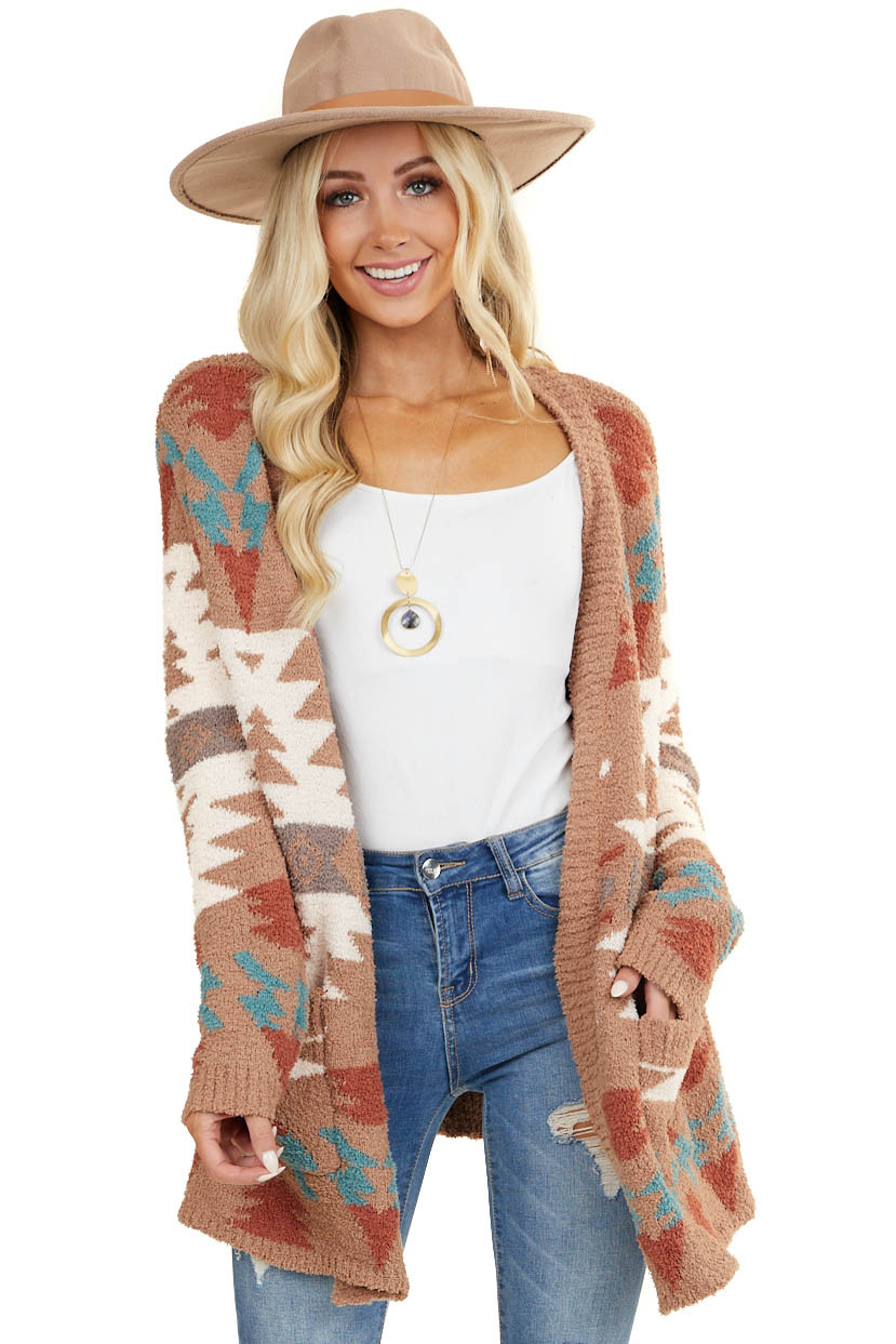 Camel and Multicolor Aztec Print Long Sleeve Cardigan